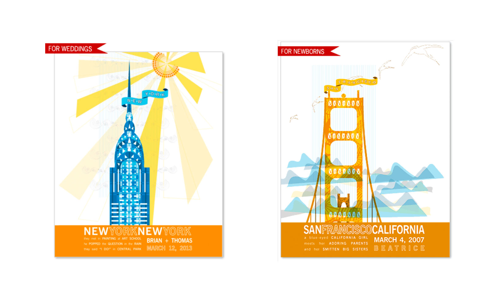 Travel Wedding Gifts: JHill Design Landmark Prints