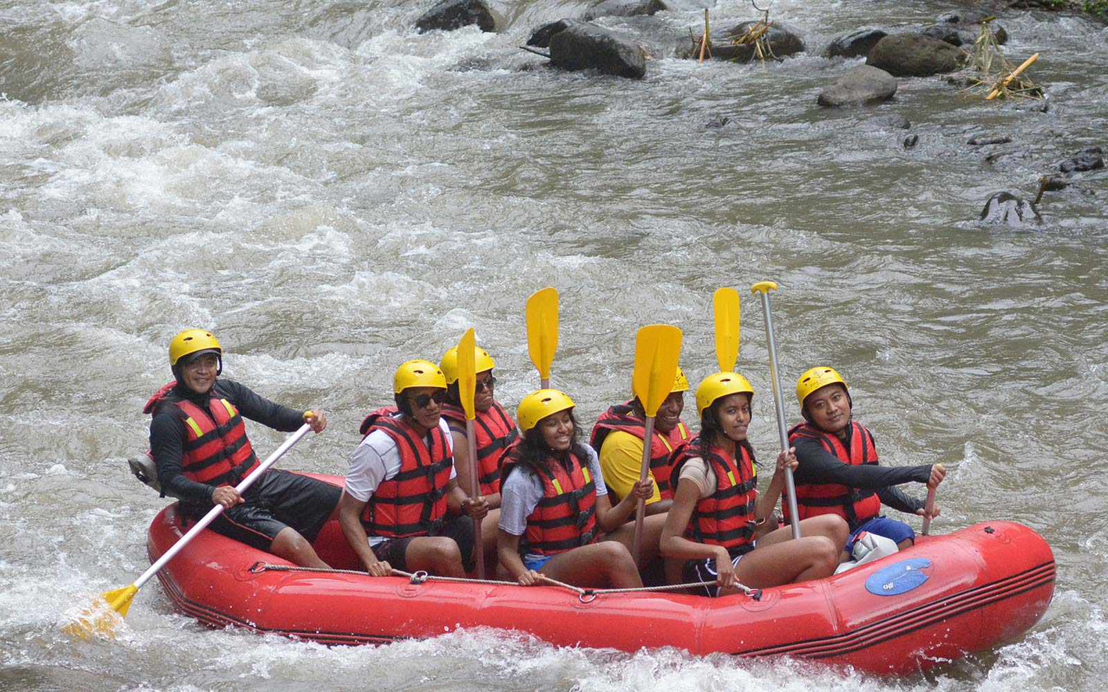 Former US president Barack Obama Michelle Sasha Malia rafting at Bongkasa Village in Badung on Bali island Indonesia