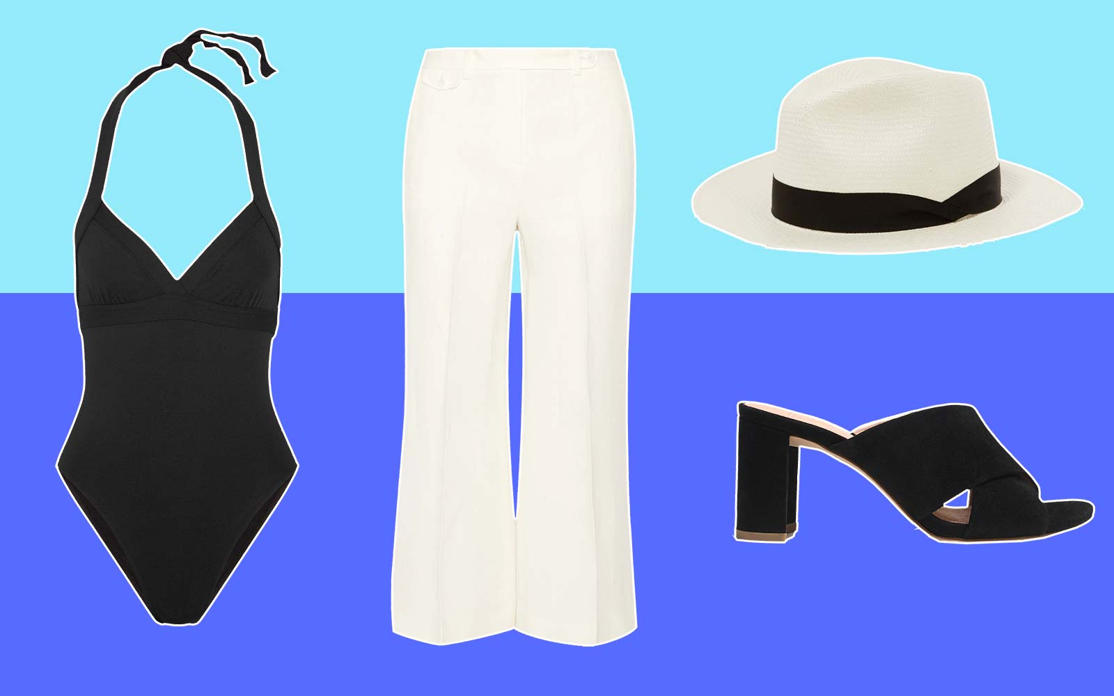 Swimsuit Style Fashion Chic Black and White
