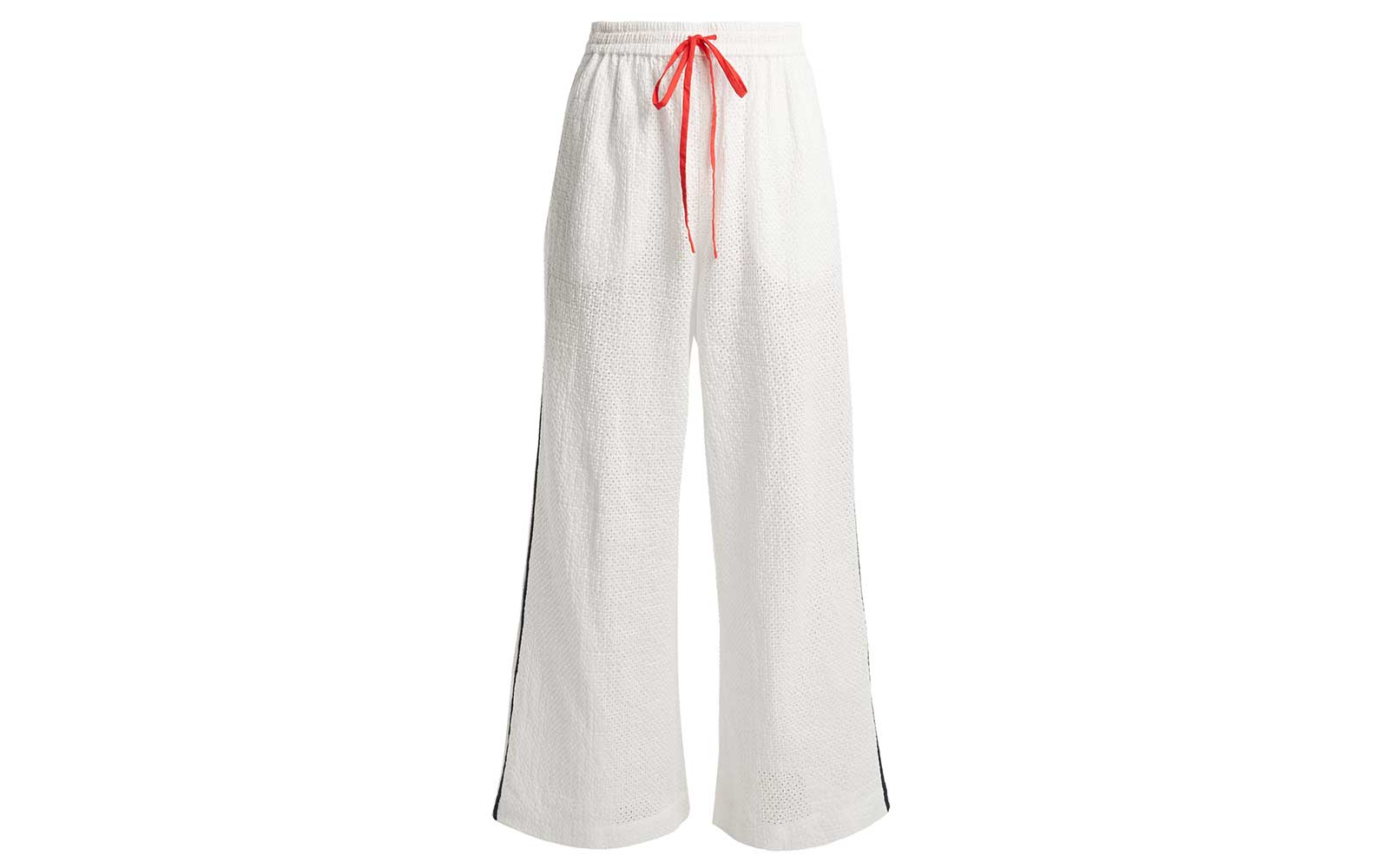 Montauk side-stripe wide-leg cotton trousers