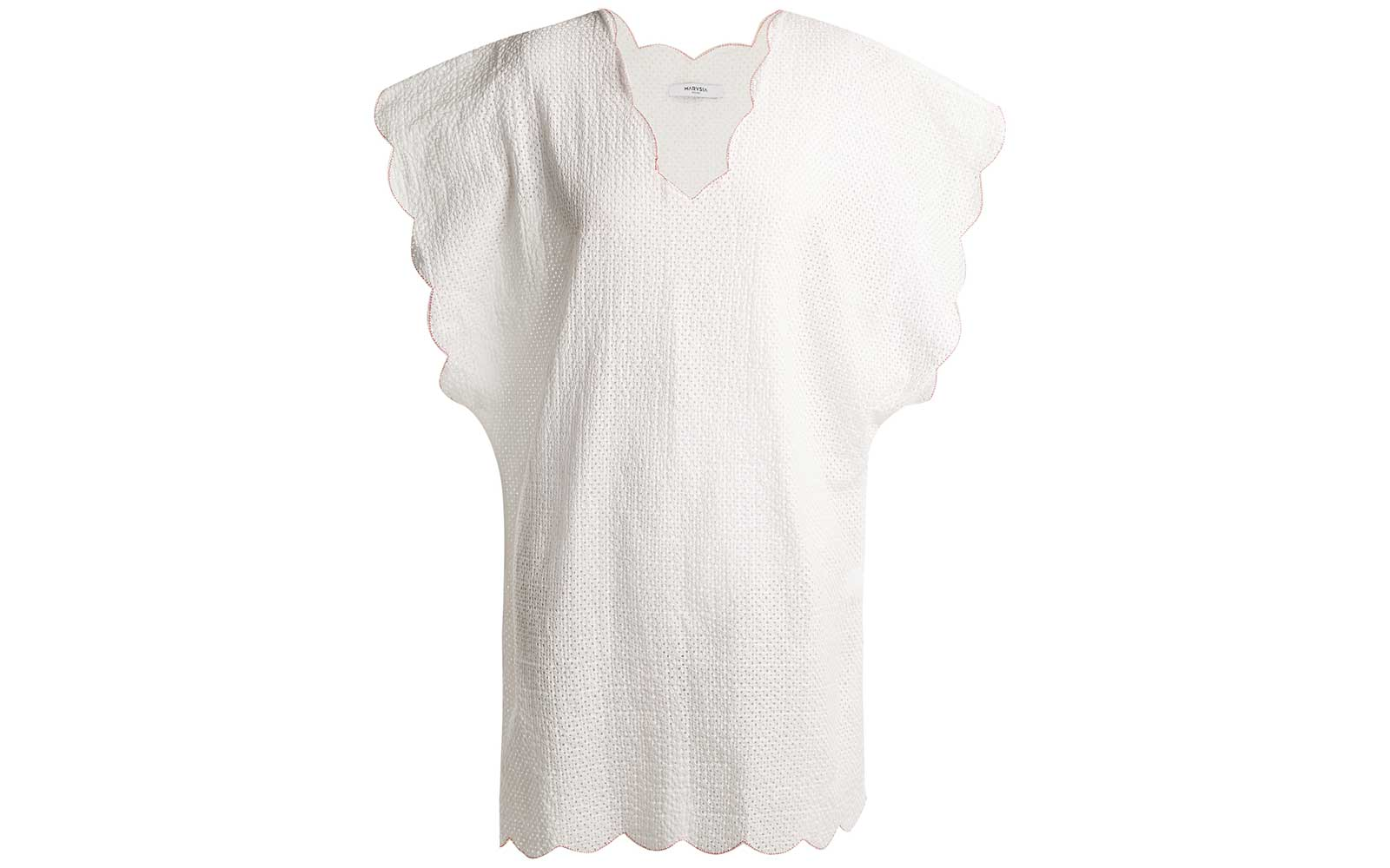 Shelter Island scallop-edged cotton cover-up