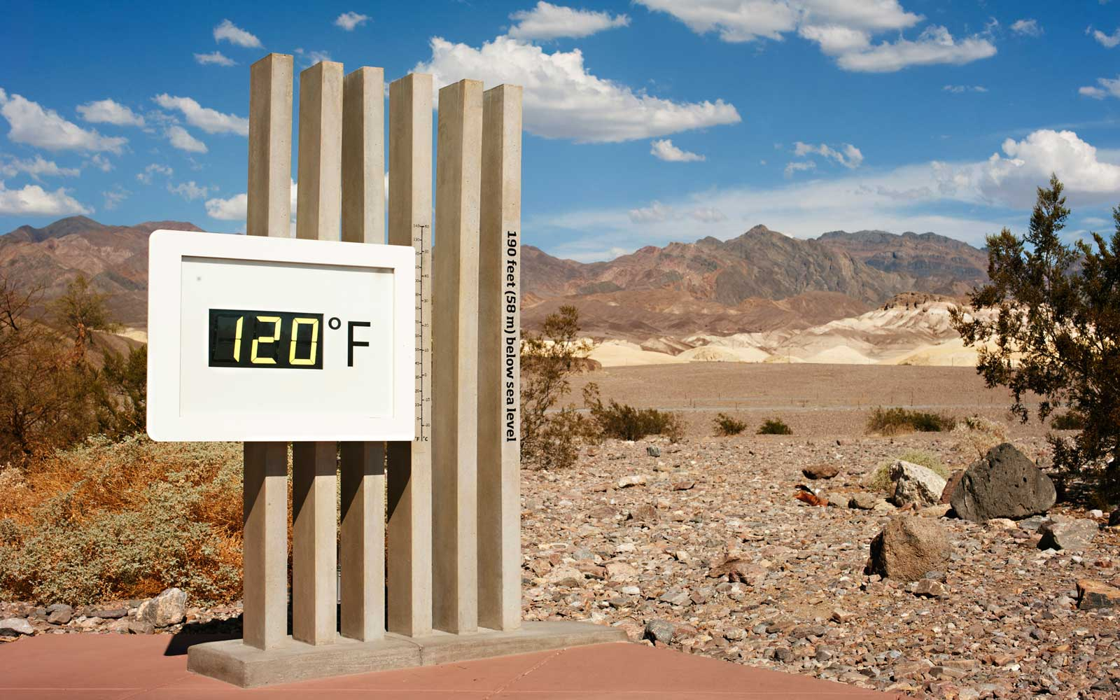 120 degrees Fahrenheit at Furnace Creek in Death Valley on a late afternoon in early September.