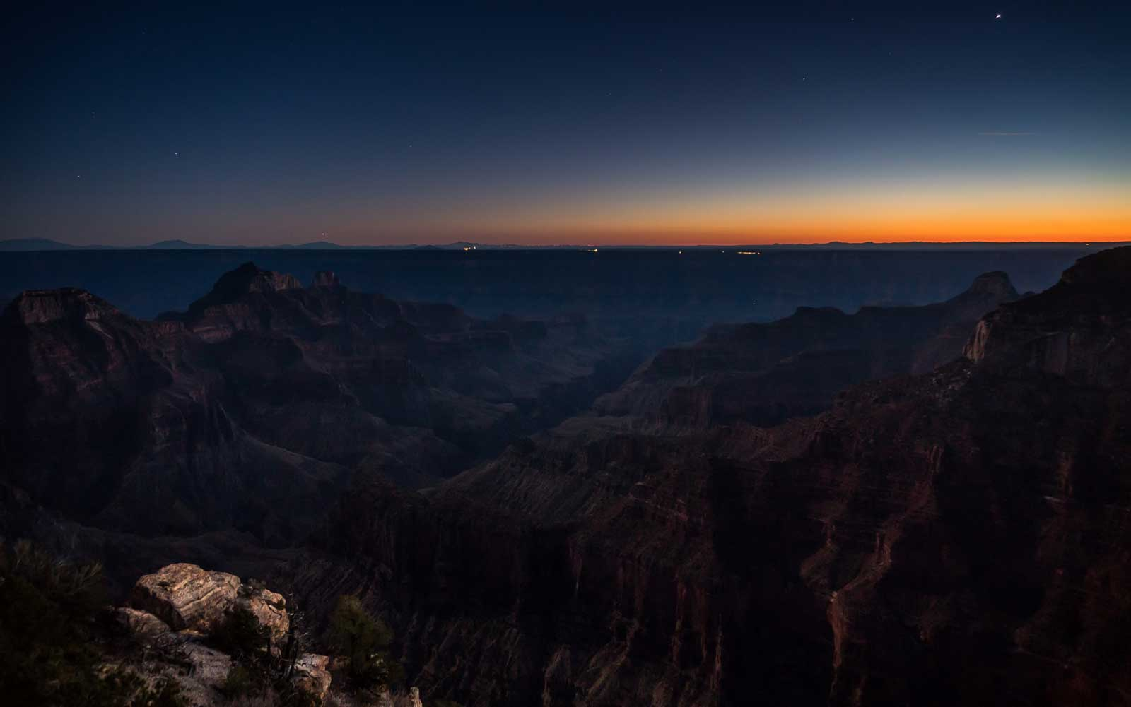 Nightfall at the Grand Canyon from Bright Angel Point on the North Rim.