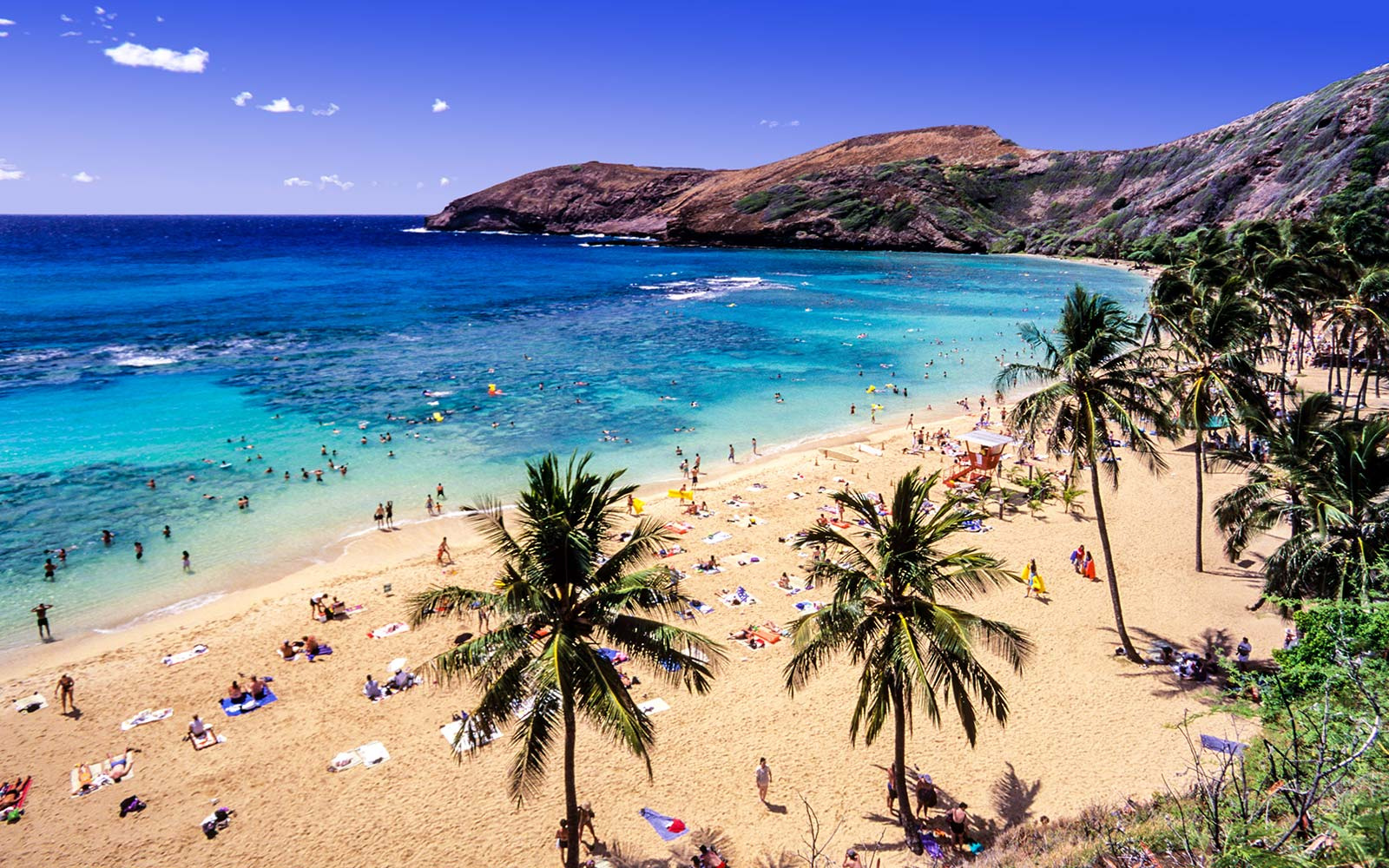 USA, Hawaii, Oahu, Hanauma Bay Nature Preserve, a Nature Preserve and a Marine Life Conservation District inside a volcanic crater snorkel tropical fish