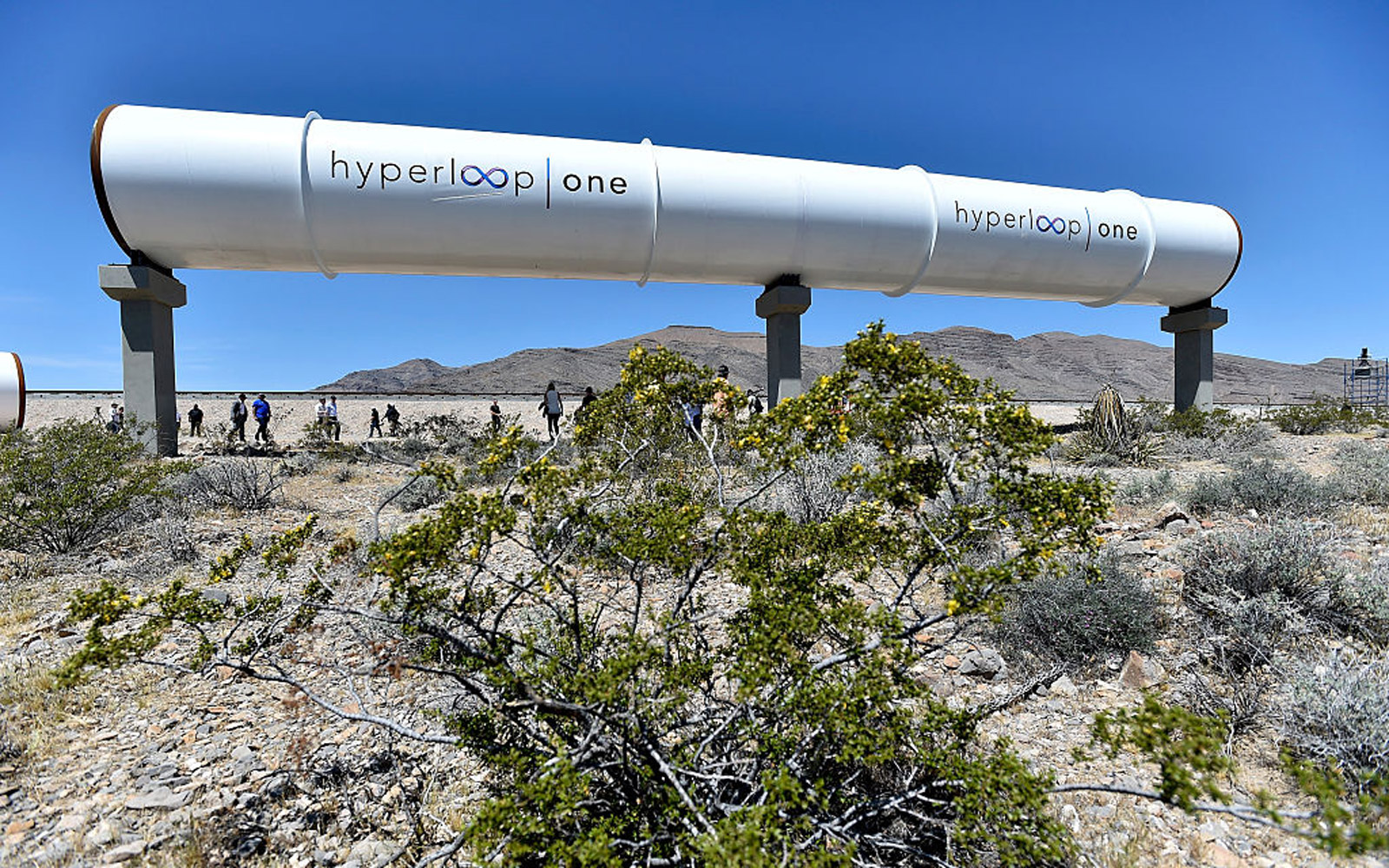 NORTH LAS VEGAS, NV - MAY 11:  Hyperloop tubes are displayed during the first test of the propulsion system at the Hyperloop One Test and Safety site on May 11, 2016 in North Las Vegas, Nevada. The company plans to create a fully operational hyperloop sys