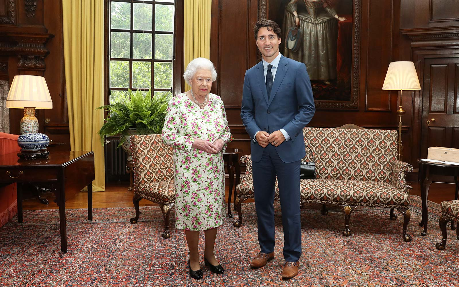 Queen Elizabeth II meets with Canadian Prime Minister Justin Trudeau during an audience at the Palace of Holyroodhouse in Edinburgh, Scotland