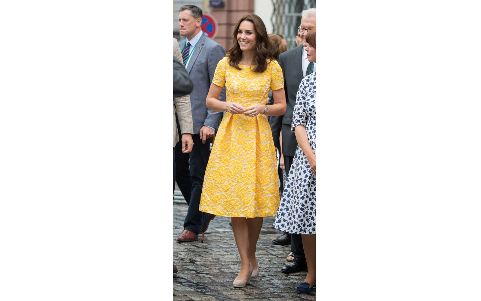 HEIDELBERG, GERMANY - JULY 20:  (NO UK SALES FOR 28 DAYS FROM CREATE DATE) Catherine, Duchess of Cambridge tours  a traditional German market in the Central Square during an official visit to Poland and Germany on July 20, 2017 in Heidelberg, Germany.  (P