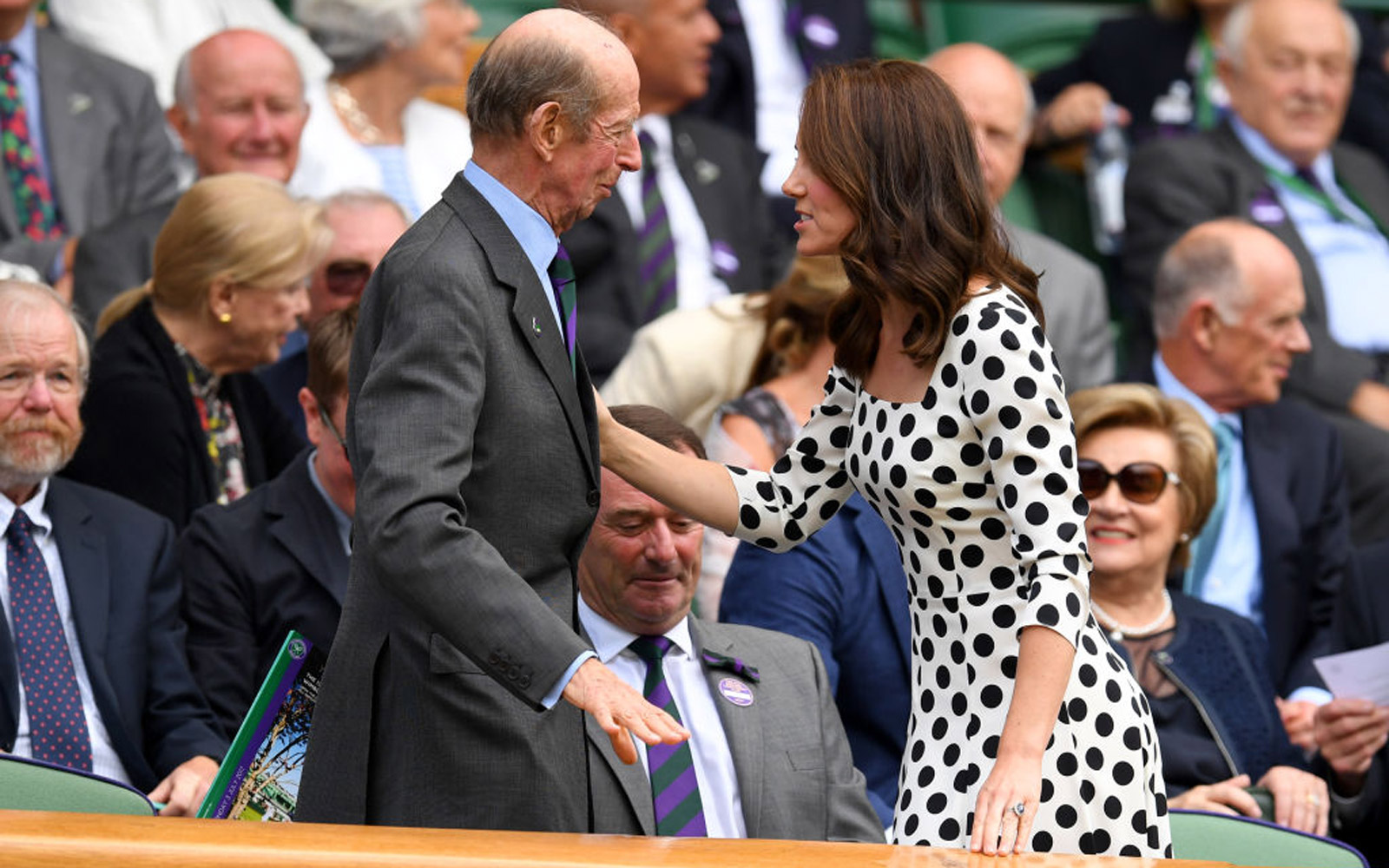 LONDON, ENGLAND - JULY 03:  Catherine, Duchess of Cambridge is greeted by HRH The Duke of Kent on centre court on day one of the Wimbledon Lawn Tennis Championships at the All England Lawn Tennis and Croquet Club on July 3, 2017 in London, England.  (Phot