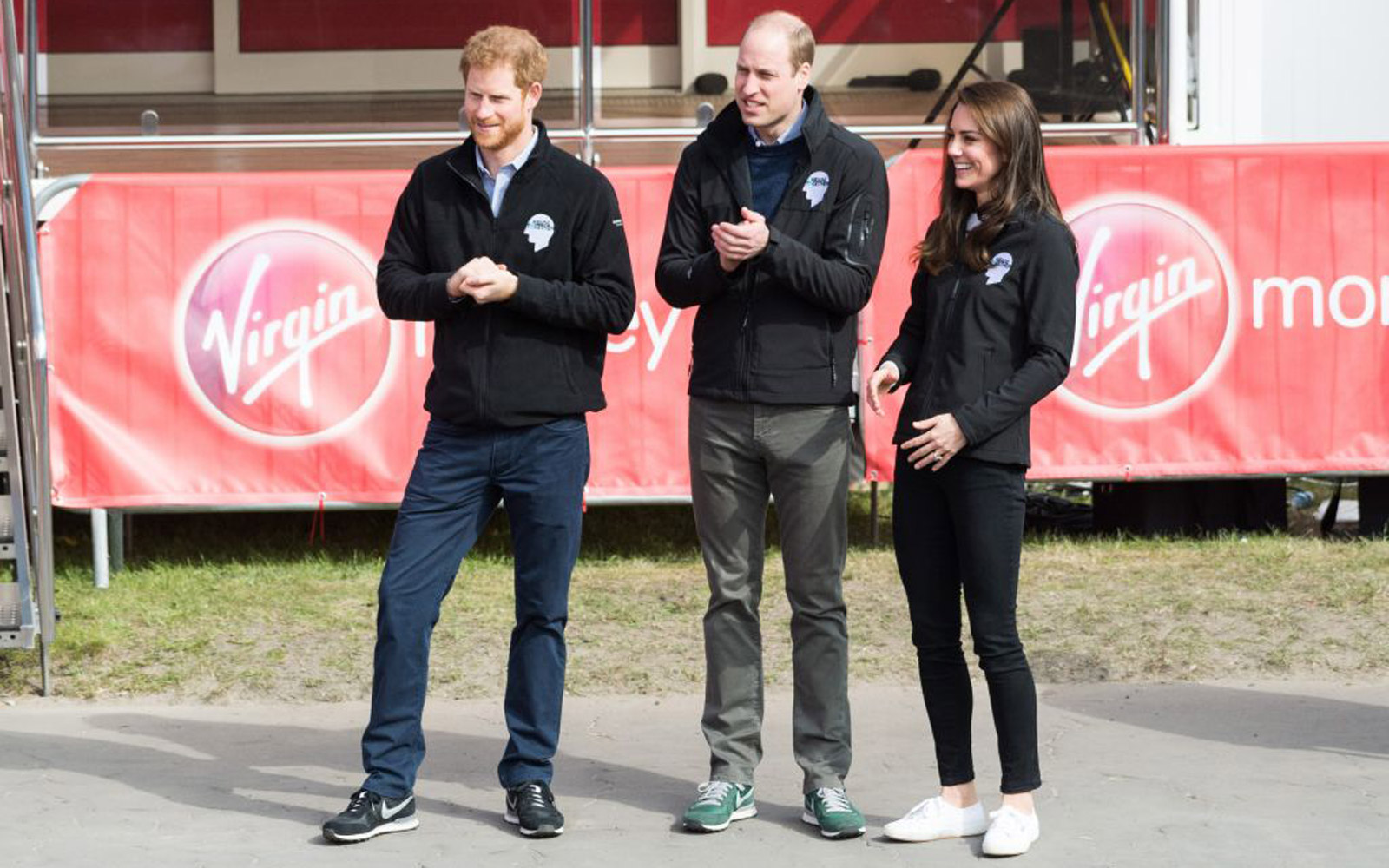 LONDON, UNITED KINGDOM - APRIL 23:  Prince William, Duke of Cambridge (C), Catherine, the Duchess of Cambridge (R) and  Prince Harry (L) watch the Elite men's race of the Virgin Money London Marathon in London, England on April 23, 2017. (Photo by Ray T