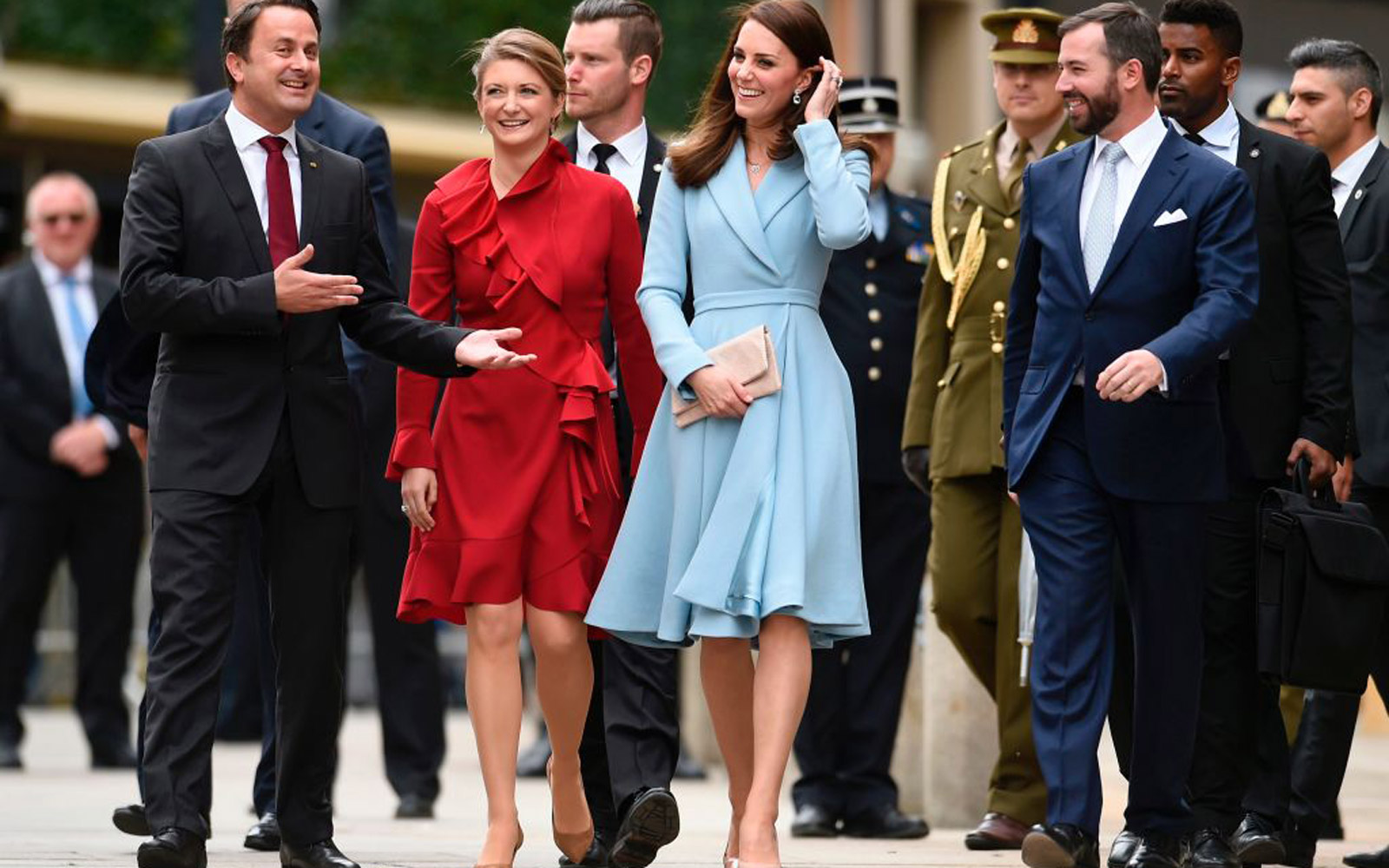 Britain's Catherine, Duchess of Cambridge (C), Prince Guillaume (R), Hereditary Grand Duke of Luxembourg, and Princess Stephanie (2ndL), Hereditary Grand Duchess of Luxembourg, walk as they take part in the Celebration of the 150th anniversary of the 1867
