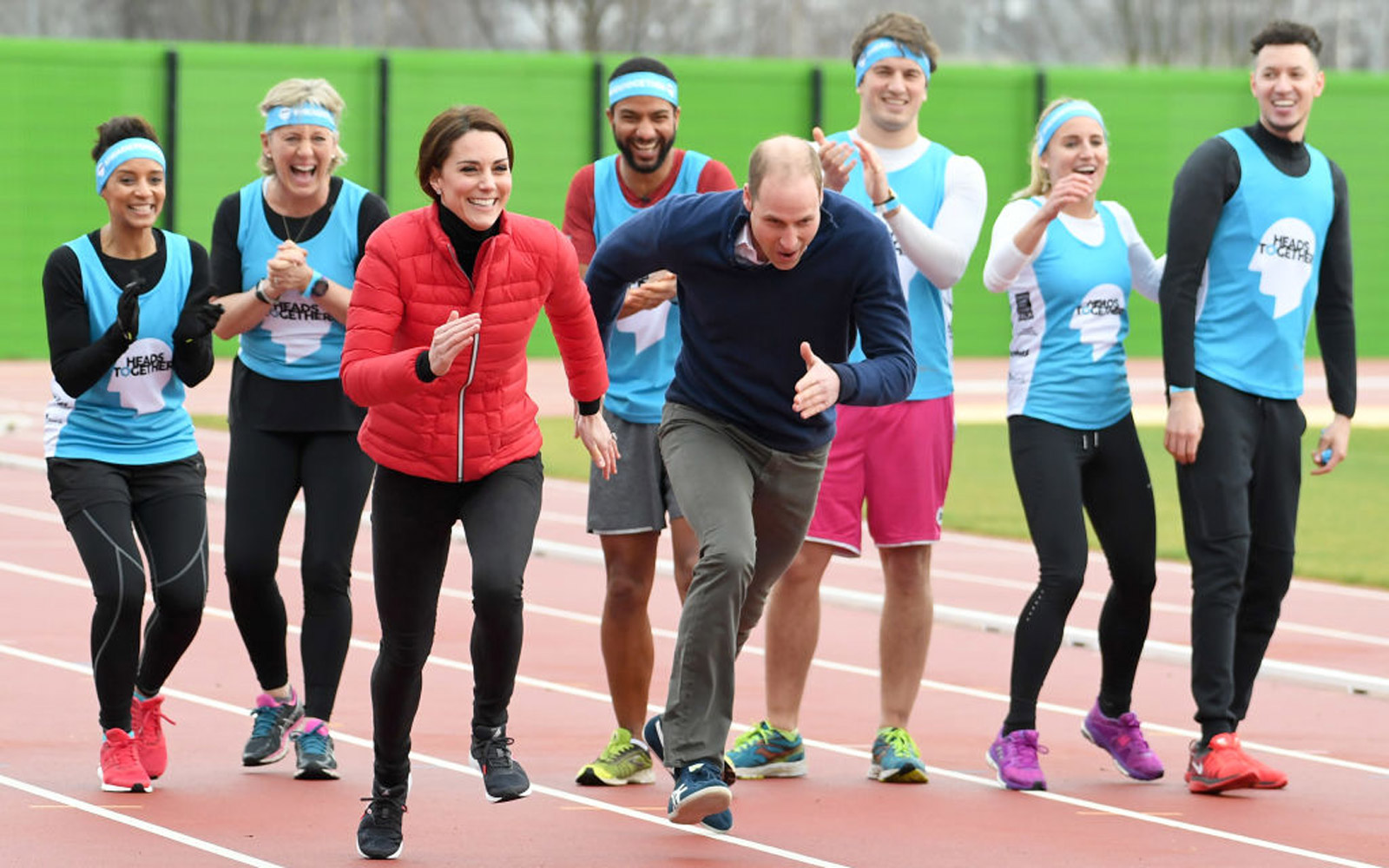 LONDON, ENGLAND - FEBRUARY 05:  Catherine, Duchess of Cambridge and Prince William, Duke of Cambridge attend a training day for the Heads Together team for the London Marathon at Olympic Park on February 5, 2017 in London, England.  (Photo by Karwai Tang/