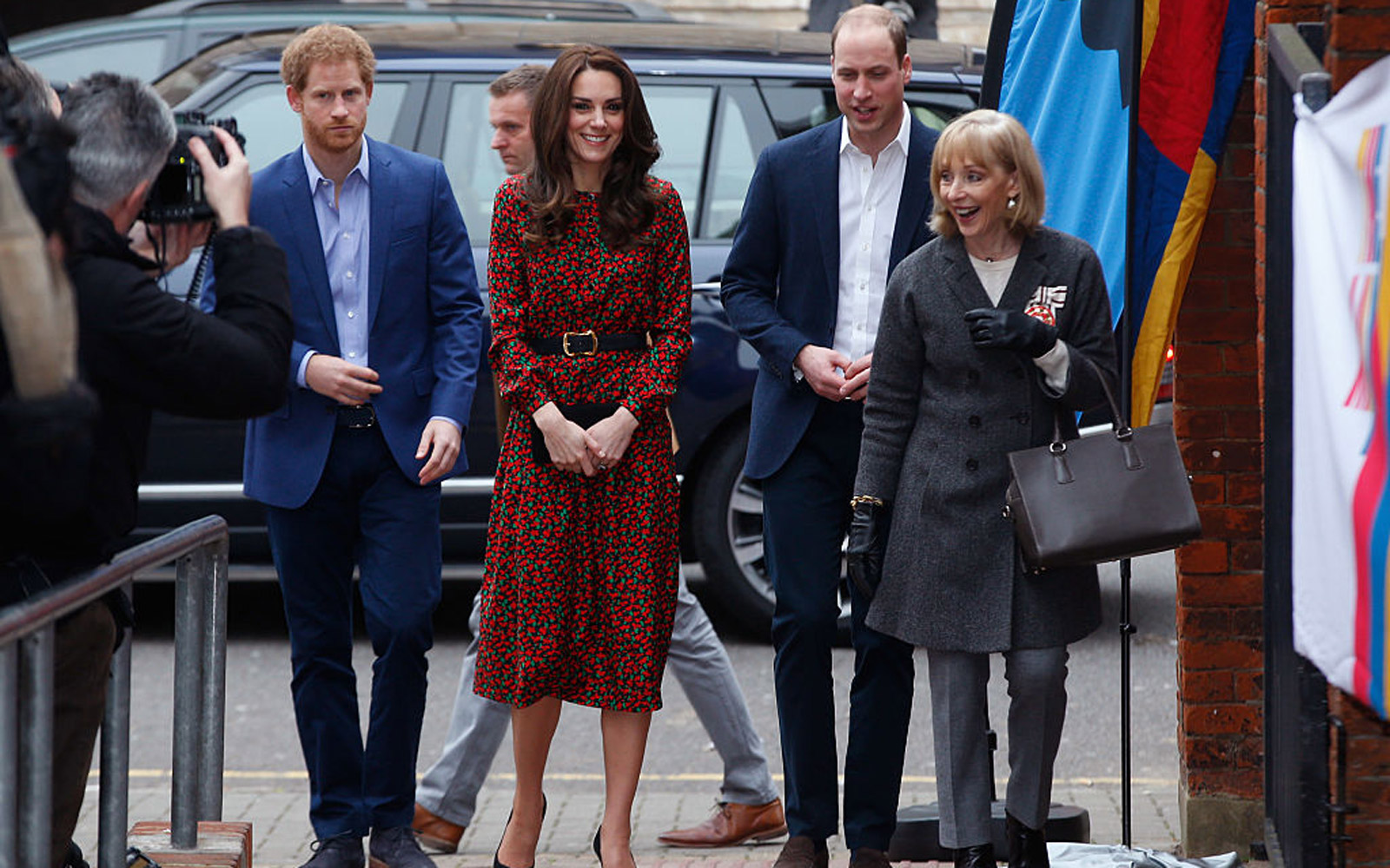 LONDON, ENGLAND - DECEMBER 19:  (L-R) Prince Harry, Catherine, Duchess of Cambridge and Prince William, Duke of Cambridge arrive to attend a Christmas party for volunteers at The Mix youth service on December 19, 2016 in London, England.  The Mix youth se