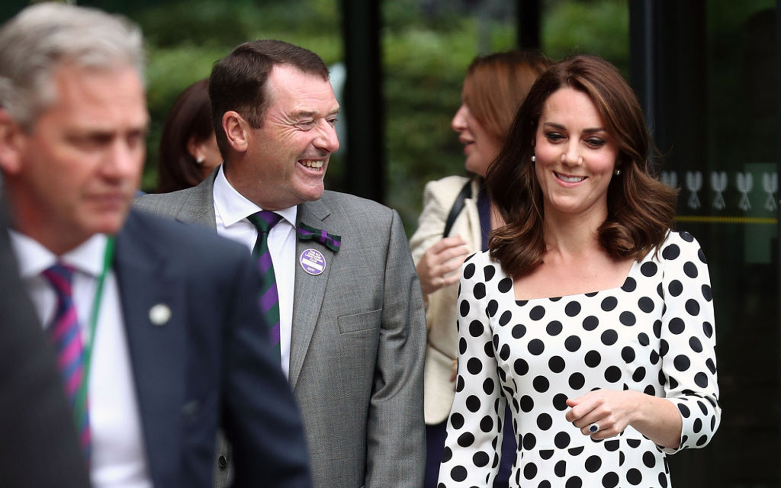 Philip Brook Chairman of the All England Lawn Tennis Club chats with Britain's Catherine, Duchess of Cambridge (R) as she visits The All England Lawn Tennis Club in Wimbledon, south-west London, on July 3, 2017 on the first day of the 2017 Wimbledon Champ