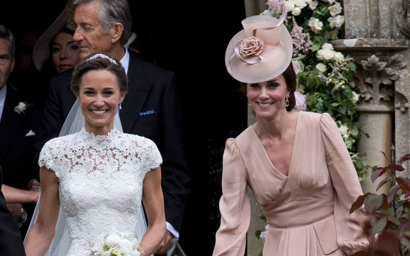 ENGLEFIELD GREEN, ENGLAND - MAY 20:  Pippa Middleton and Catherine, Duchess of Cambridge attend the wedding of Pippa Middleton and James Matthews at St Mark's Church on May 20, 2017 in Englefield Green, England.  (Photo by UK Press Pool/UK Press via Getty