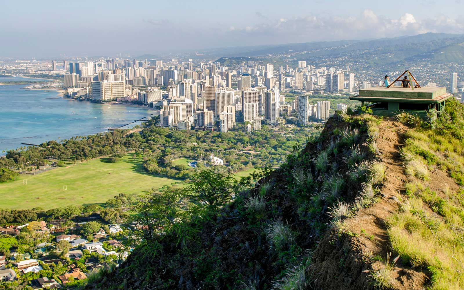 Honolulu from atop Diamond Head State Monument (Leahi Crater), Honolulu, Oahu, Hawaii