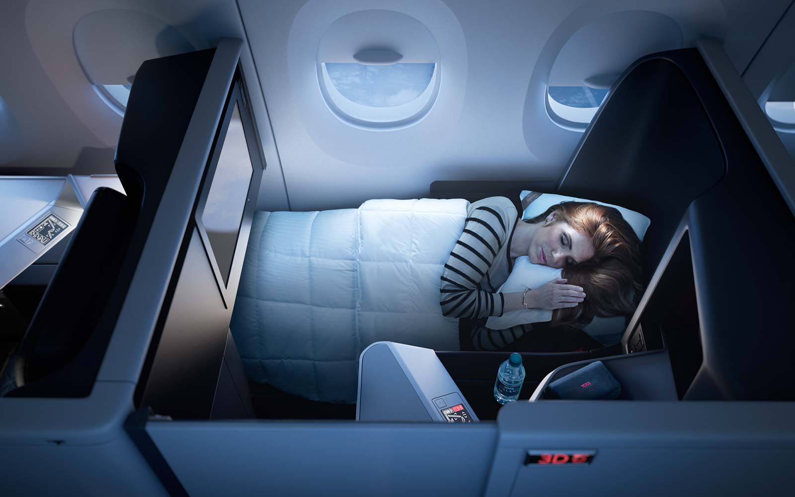 Delta Airlines Airbus A350 Delta One suite, the first business class cabin to feature a sliding door at each suite