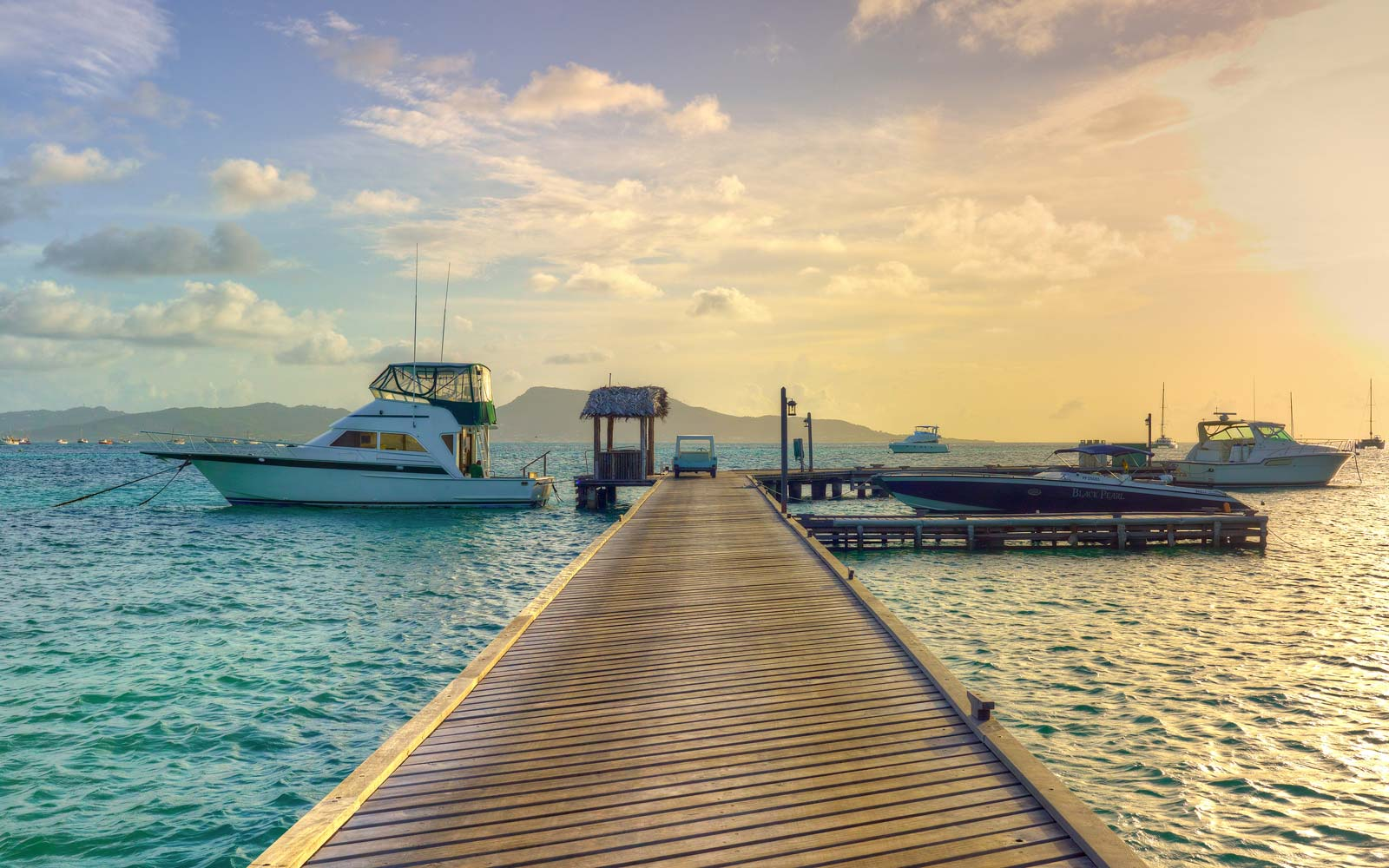 The dock at sunset at Petit St. Vincent