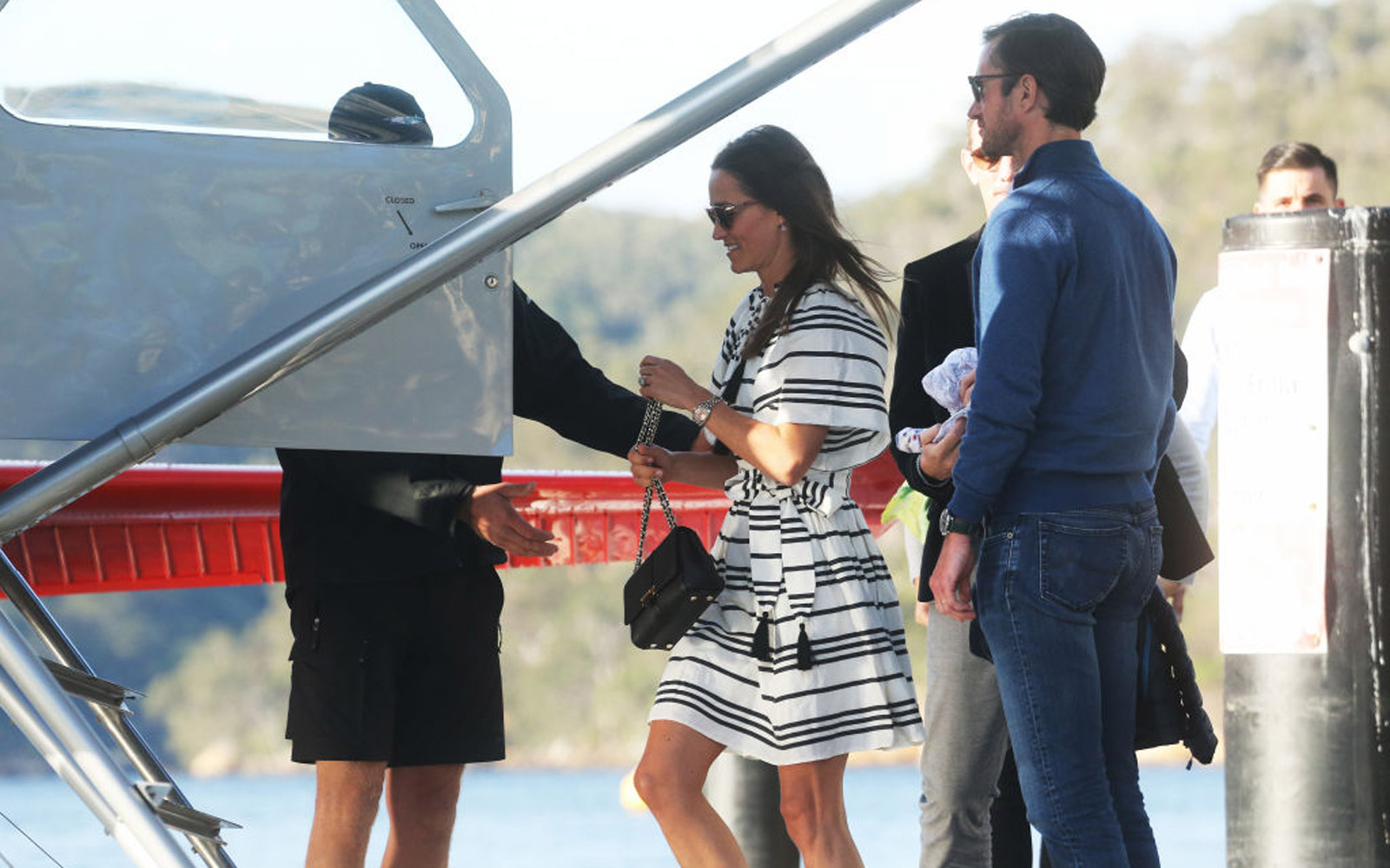 MAY 31, 2017: SYDNEY, NSW - (EUROPE AND AUSTRALASIA OUT) Newly married Pippa Middleton boards a seaplane after enjoying lunch with husband James Matthews at the Cottage Point Inn in Sydney, New South Wales. (Photo by Rohan Kelly/Newspix/Getty Images)
