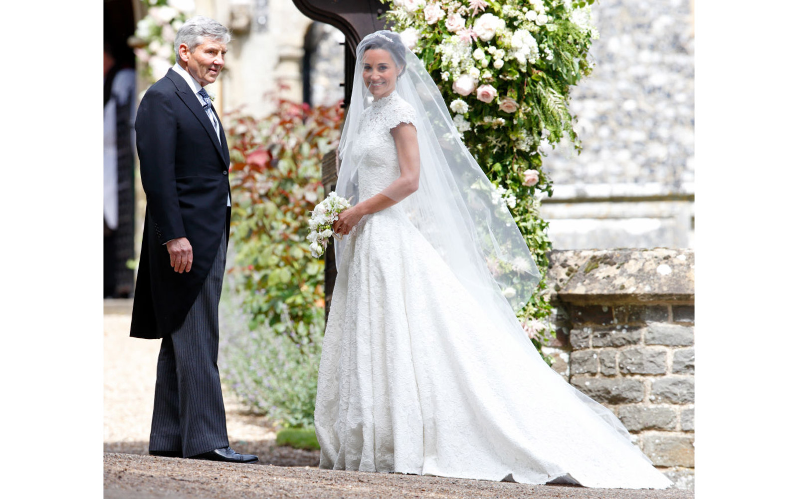 ENGLEFIELD GREEN, UNITED KINGDOM - MAY 20: (EMBARGOED FOR PUBLICATION IN UK NEWSPAPERS UNTIL 48 HOURS AFTER CREATE DATE AND TIME) Michael Middleton and Pippa Middleton arrive at St Mark's Church for her wedding on May 20, 2017 in Englefield Green, England