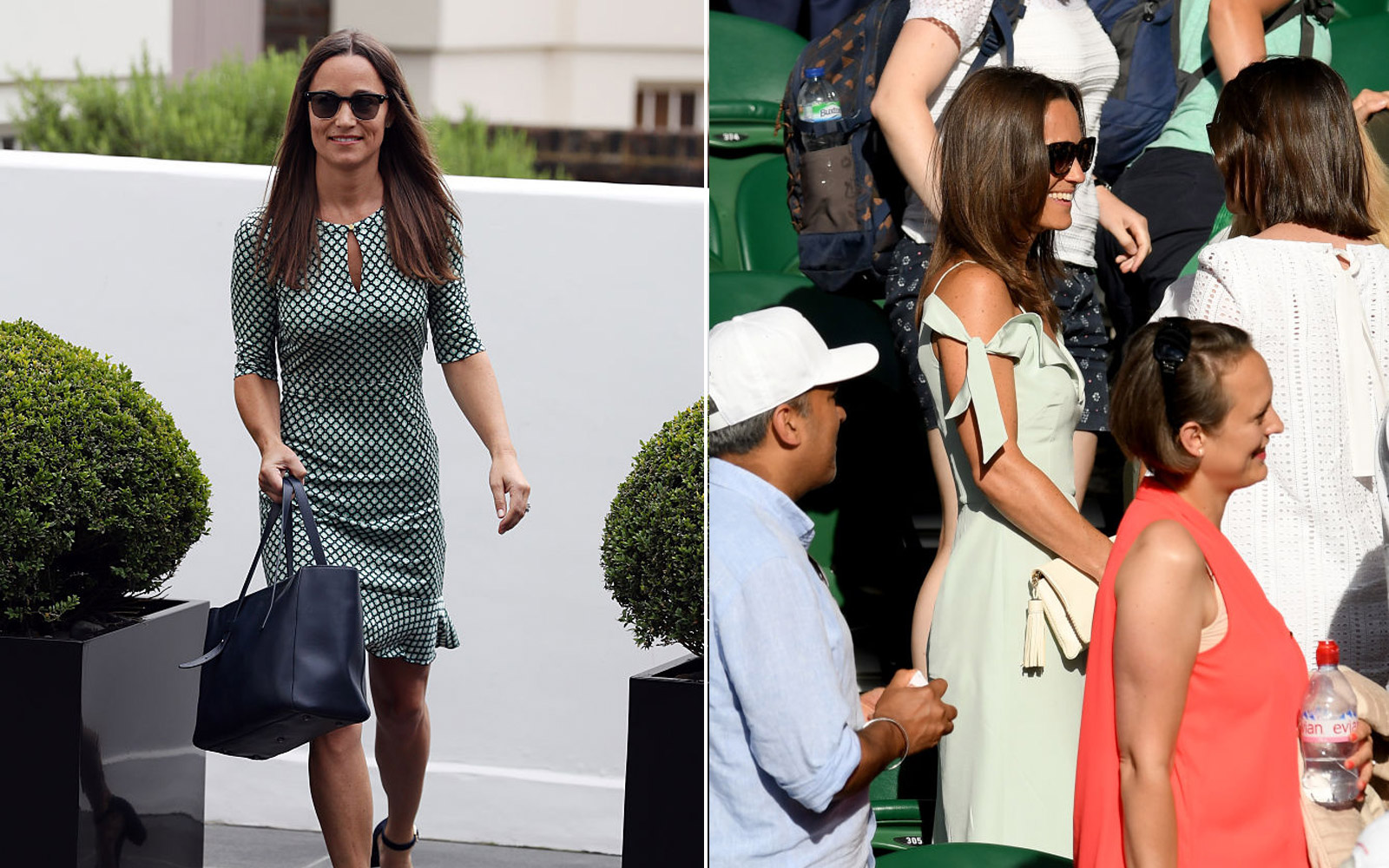 Spliced photo of Pippa leaving her home and Pippa at Wimbledon