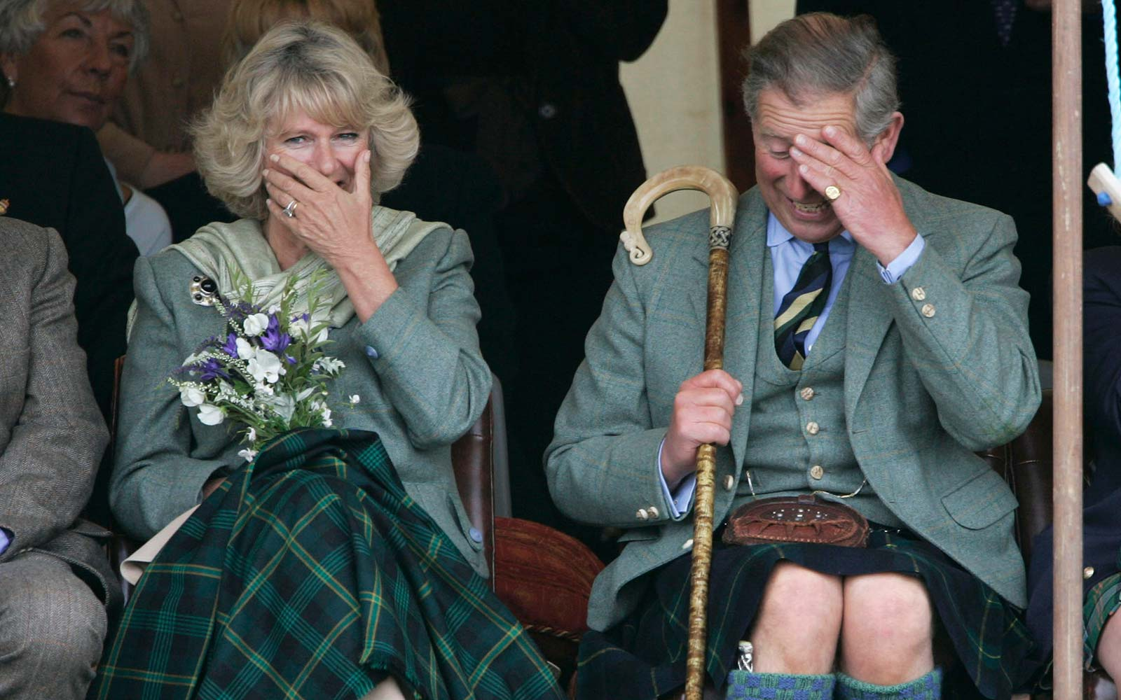 Prince Charles, the Prince of Wales, and his wife Camilla Bowles, the Duchess of Cornwall laugh UK