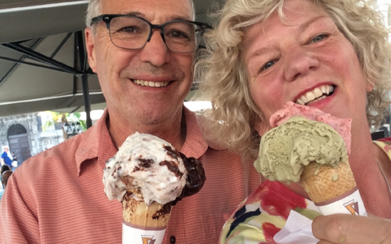 Michael and Debbie Campbell eating gelato