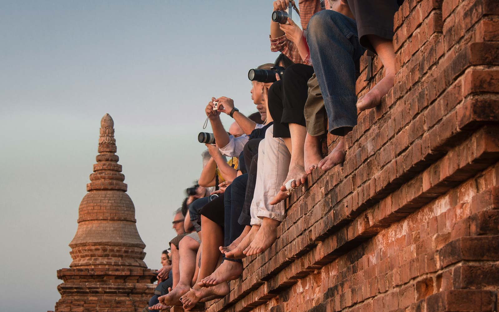 Bagan Myanmar Burma Pagoda Buddhist temples tourists taking photos