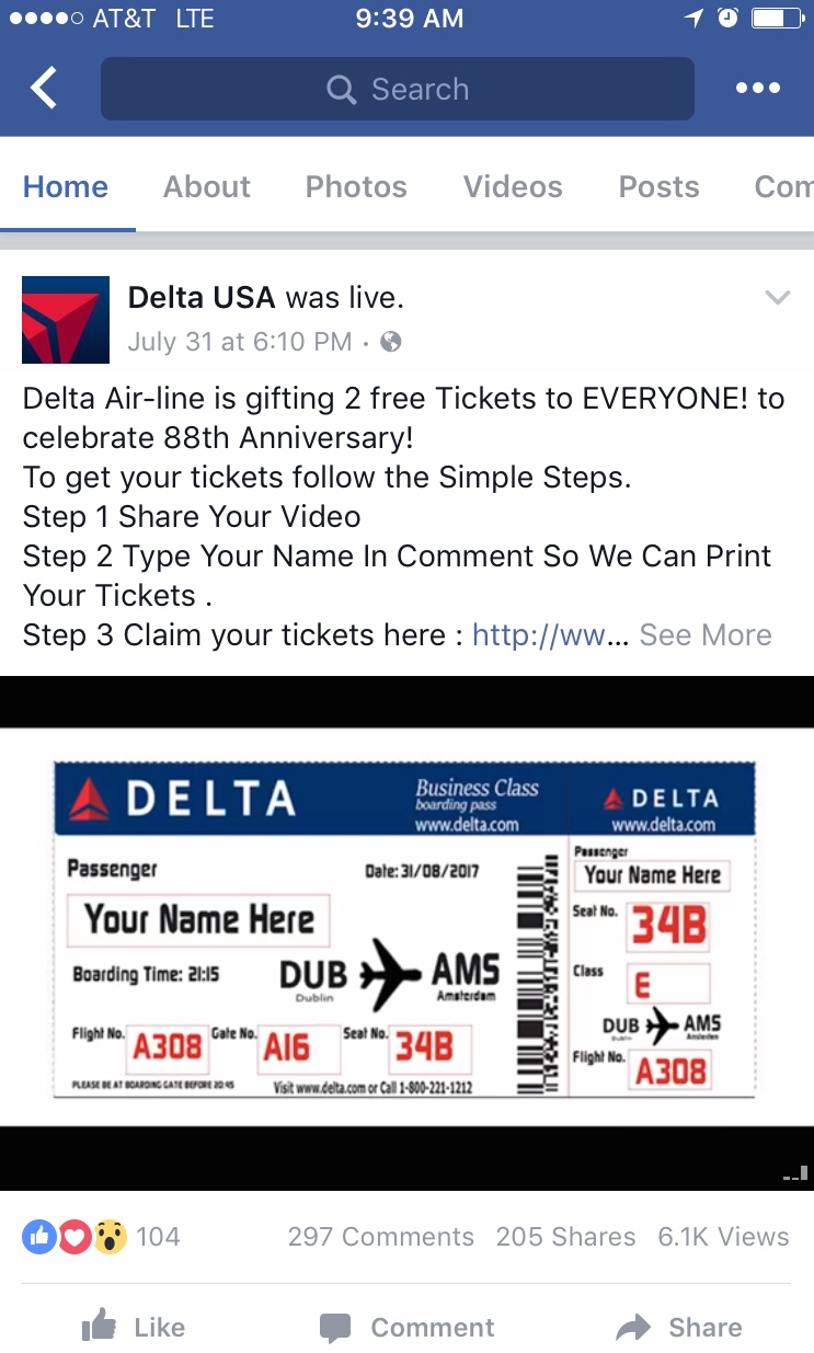 Screen Capture of Delta Facebook Scam