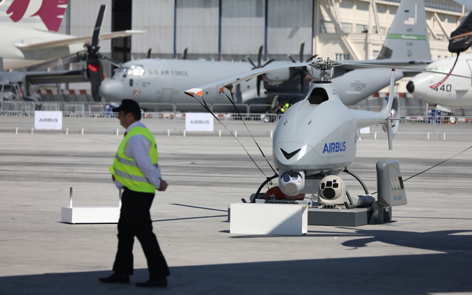 An Airbus SE unmanned aerial vehicle (UAV) stands on the tarmac ahead of the 53rd International Paris Air Show at Le Bourget, in Paris, France, on Sunday, June 18, 2017. The show is the world's largest aviation and space industry exhibition and runs from