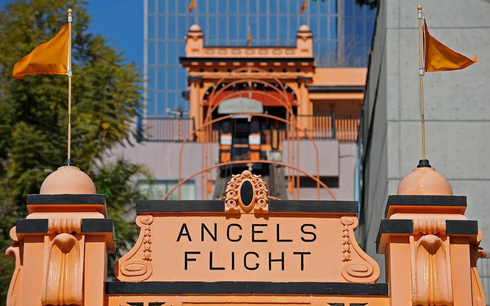"""The Angels Flight Railway, for the first time in more than nine years, resumes ferrying passengers up and down Bunker Hill in downtown Los Angeles Angel's Flight, which has been dubbed """"the shortest railway in the world,"""""""