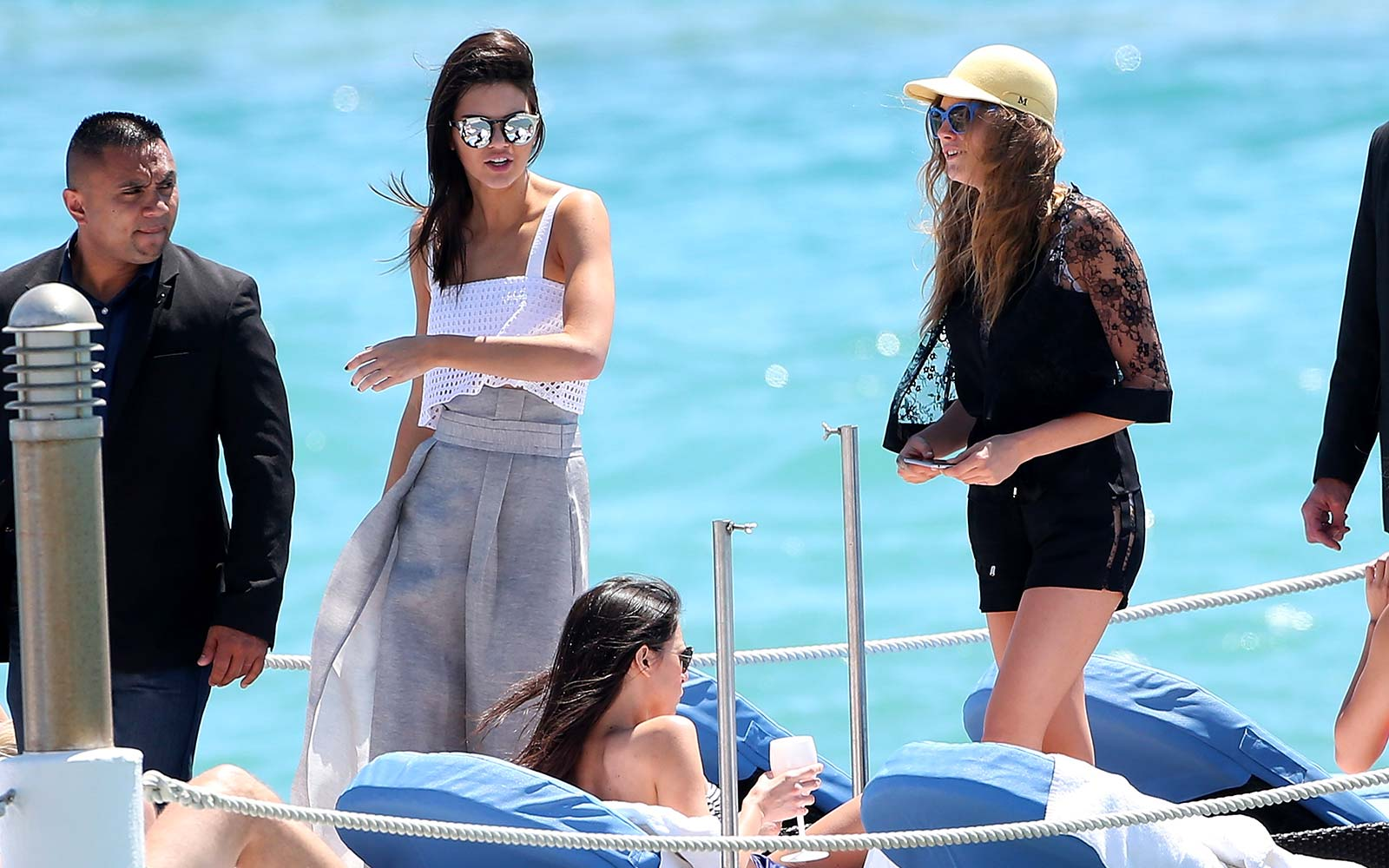 Kendall Jenner and Cara Delevingne at the Martinez Hotel Beach Cannes, France Summer Vacation Holiday