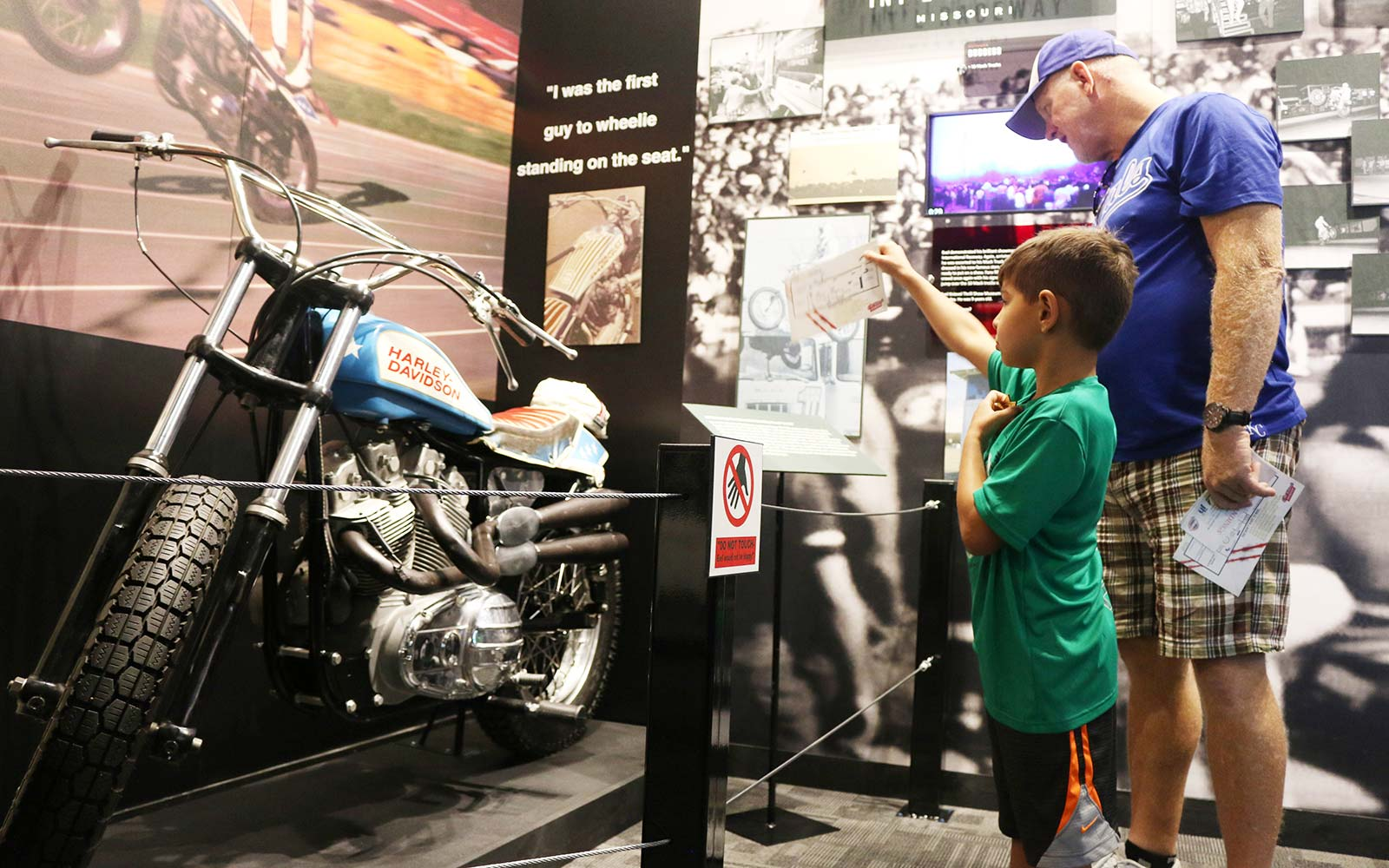 Motorcycles on display at the Evel Knievel Museum in Topeka, Kansas