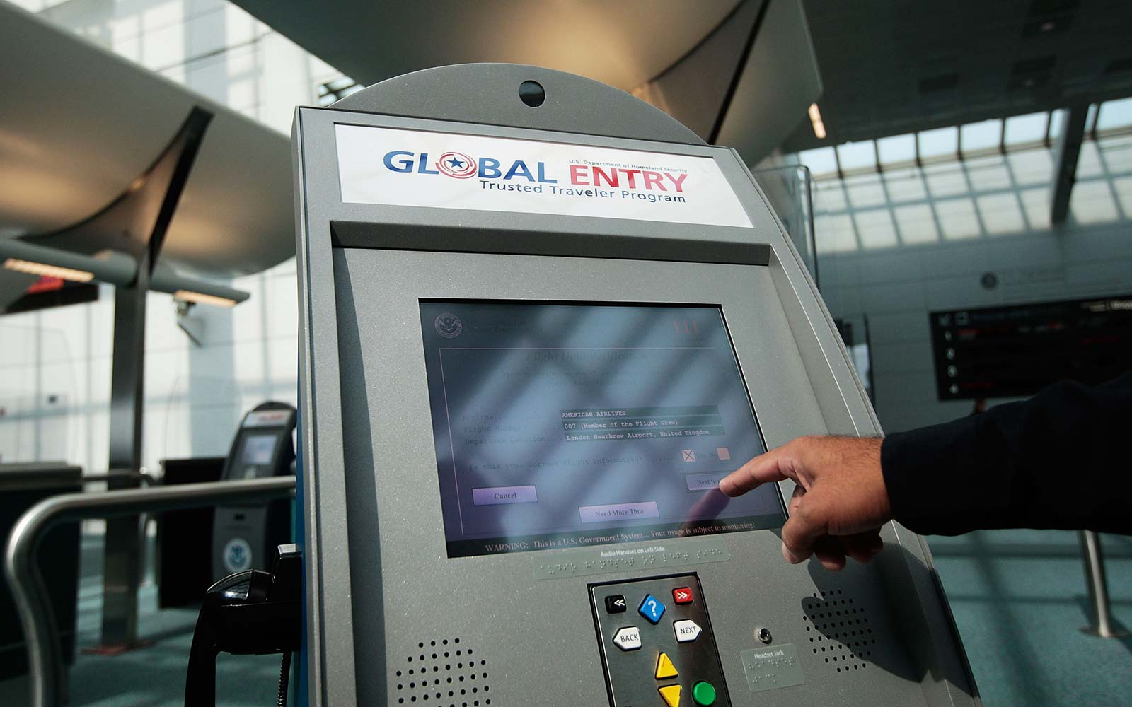 US Customs and Border Protection Global Entry Kiosk Newark Airport Security