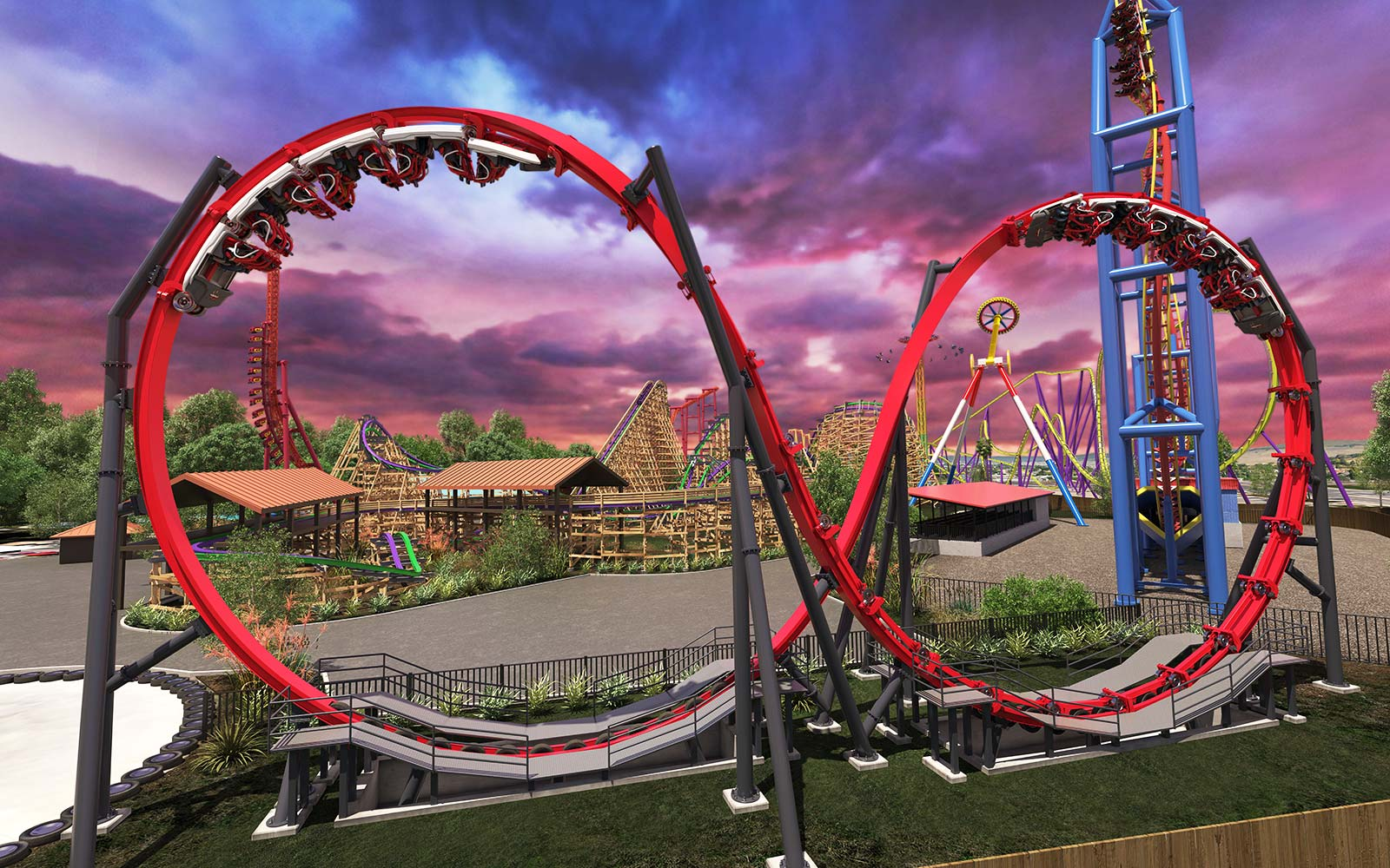Harley Quinn Crazy Dueling Loop Coaster Six Flags Discovery Kingdom