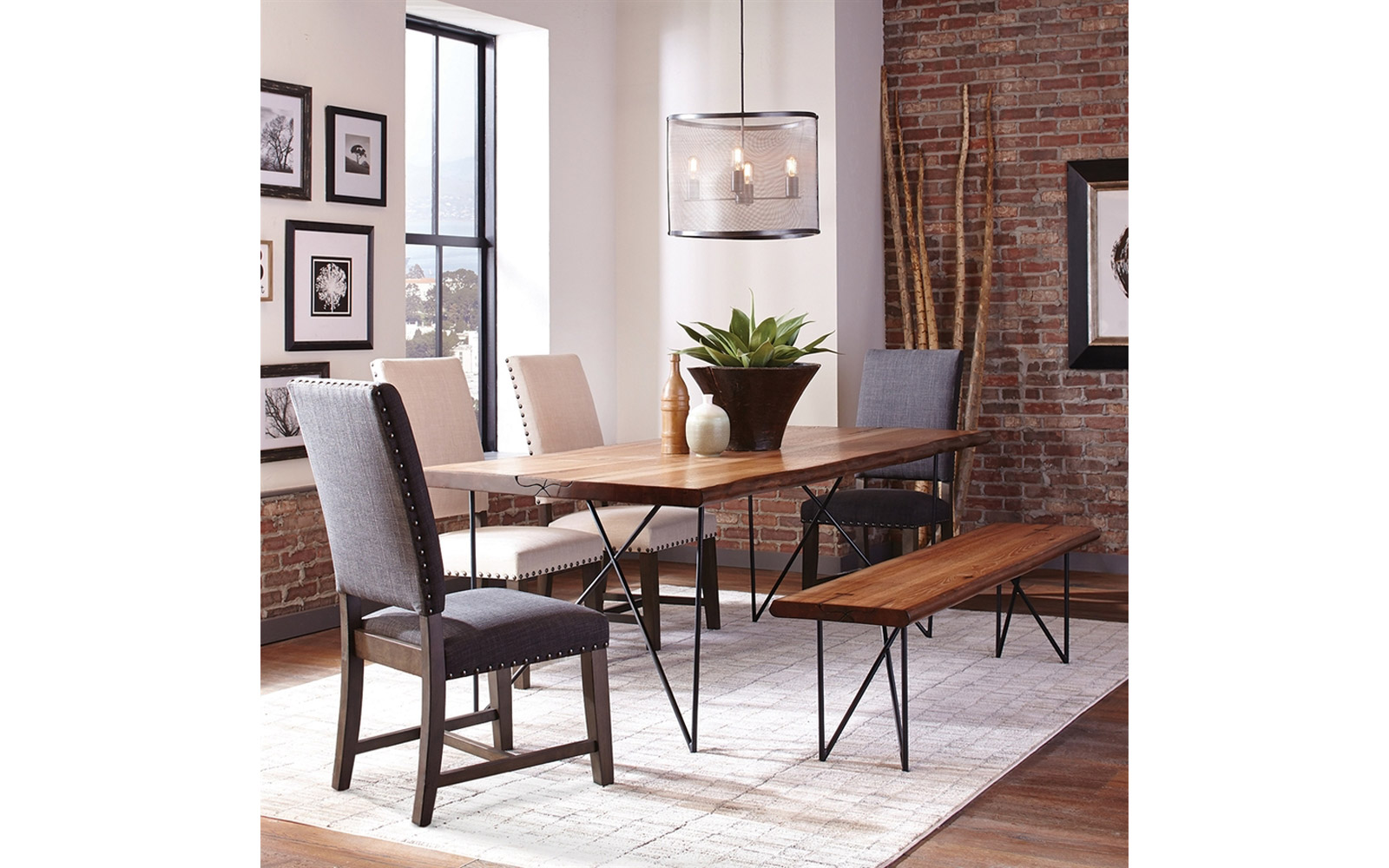 Natural Honey Wood Live Edge Dining Table