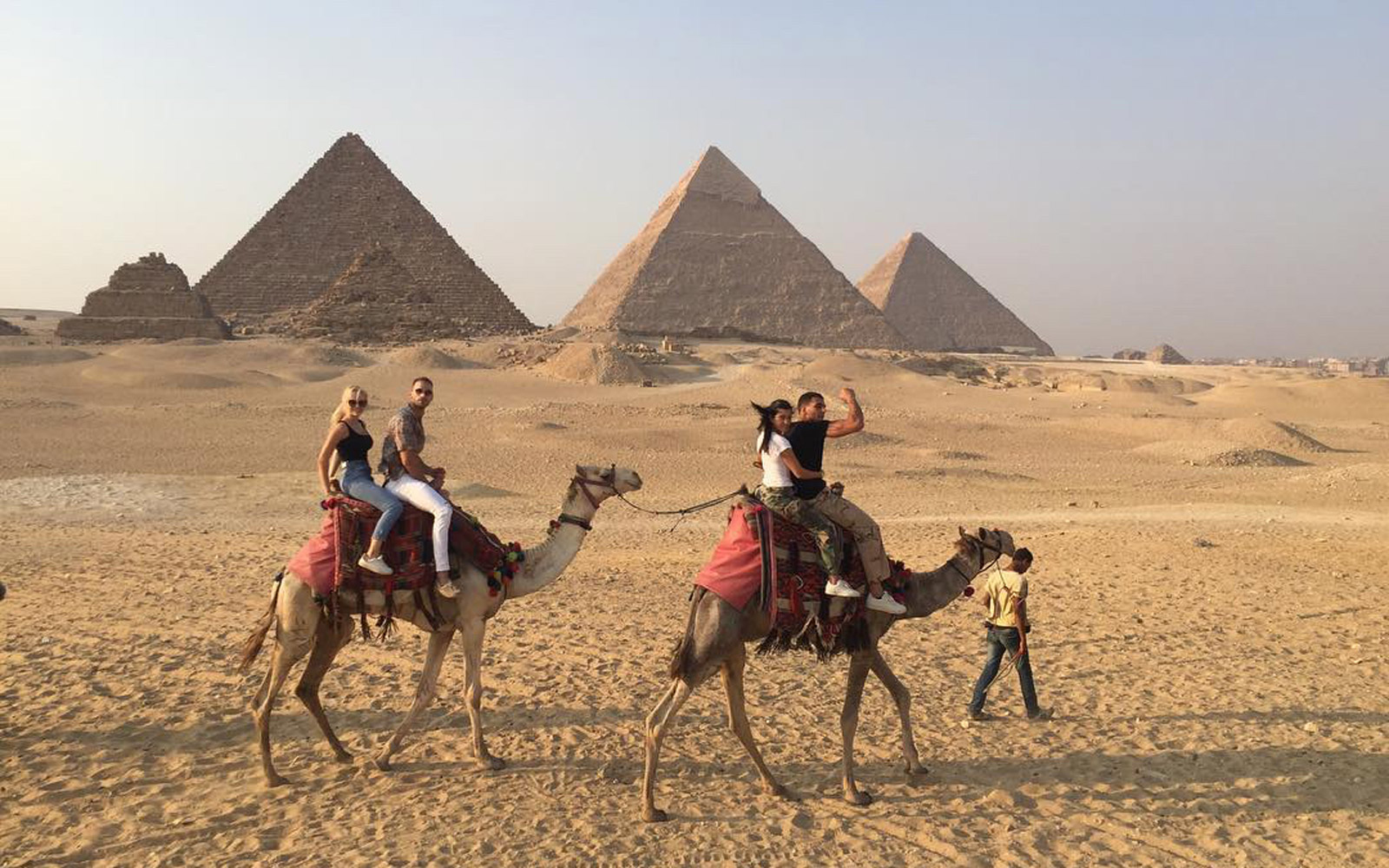 Kourtney Kardashian and Younes Bendjima riding camels in Egypt