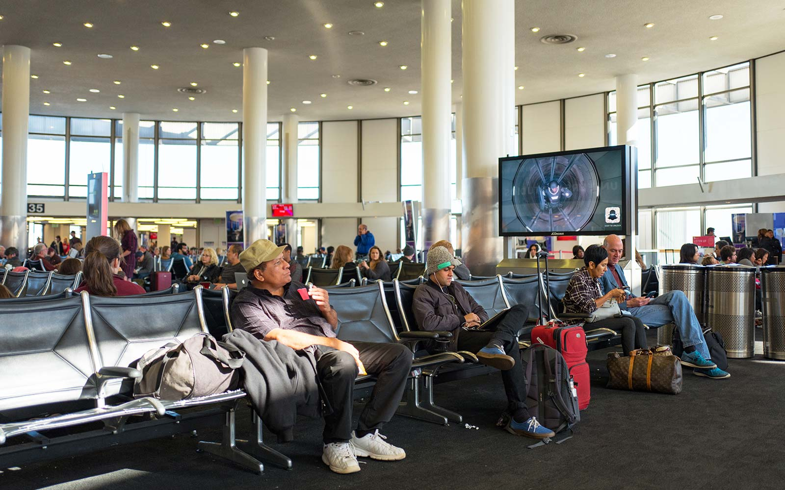 Los Angeles International Airport (LAX) airport gate waiting family visit