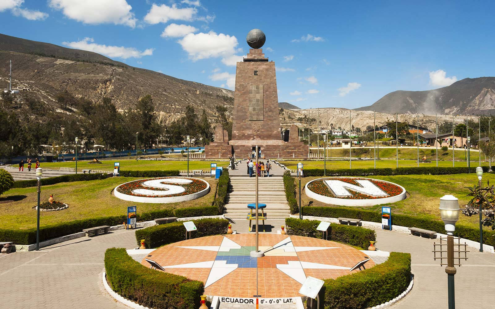 Ecuador, La Mitad del Mundo (Equator) marker Middle of the Earth latitude longitude monument