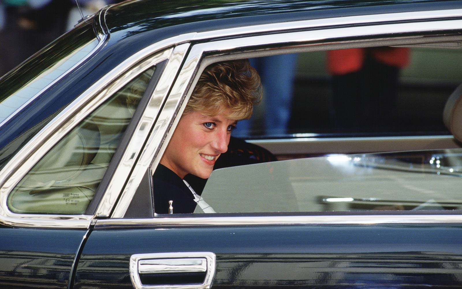 Princess Diana arrives at the headquarters of the Red Cross organization in London
