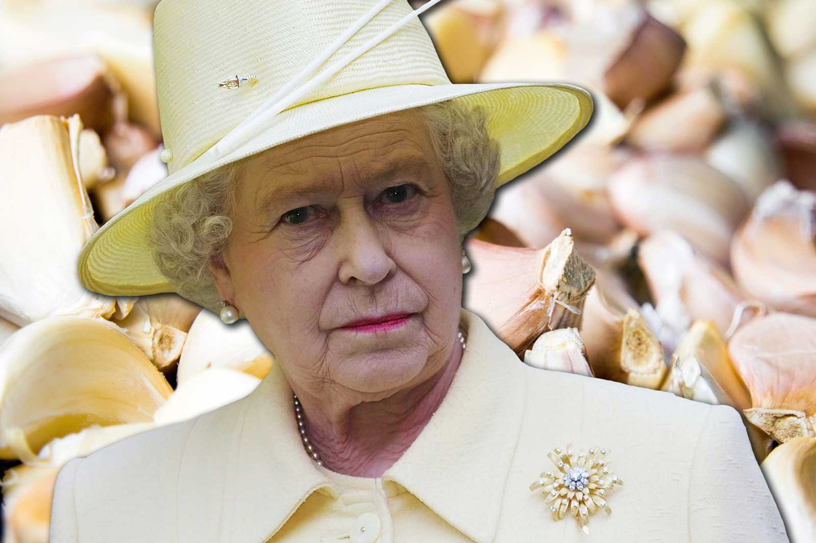 Garlic cloves and Queen Elizabeth II