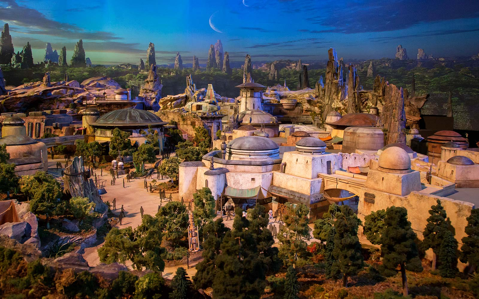 The epic, fully detailed model of theStar Wars-themed lands under development at Disneyland park in Anaheim, Calif. and Disney's Hollywood Studios in Orlando, Fla. remains on display in Walt Disney Parks