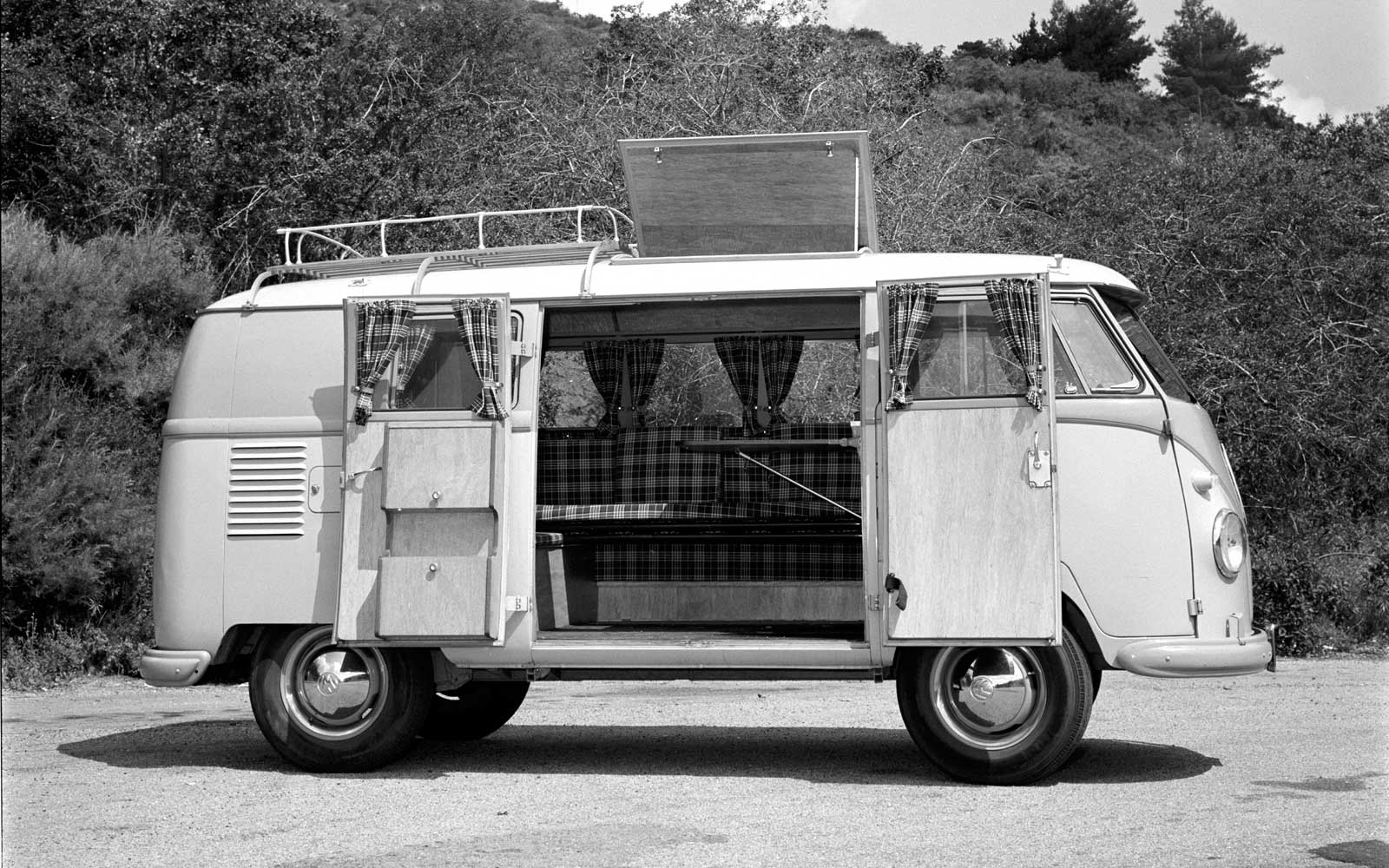 1956 VW Kamper Bus. Two-tone Volkwagen Microbus camper in the mountains north of Los Angeles.