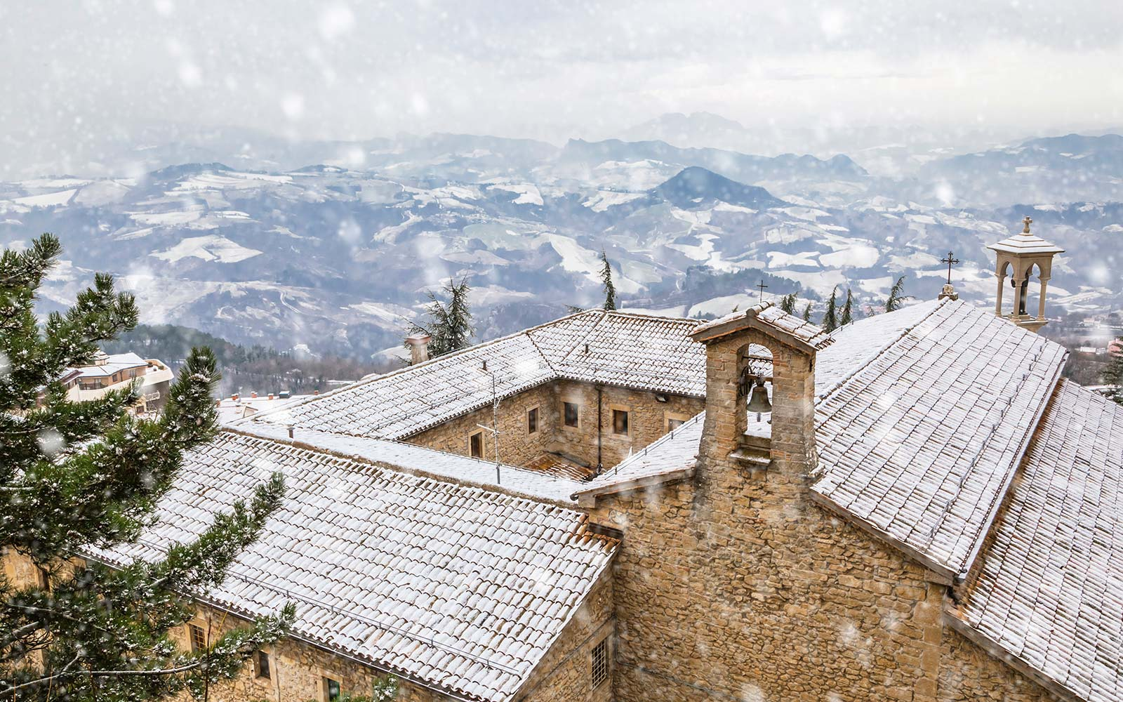 View from San Marino, Europe winter snow