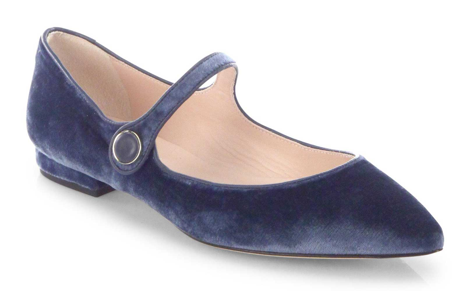 Blue Velvet Mary Janes