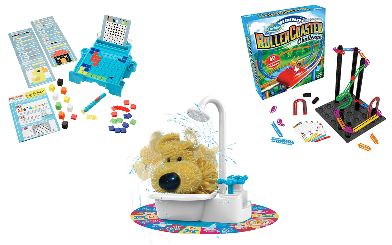 Coding game, roller coaster challenge, soggy doggy
