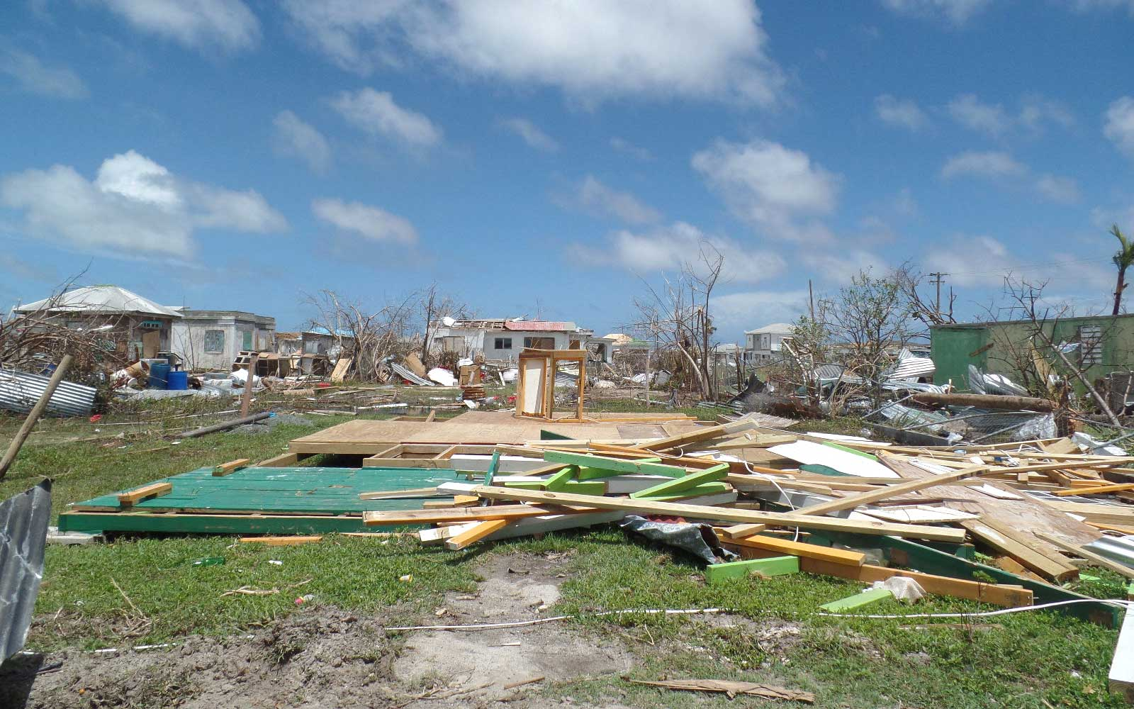 Houses are seen on September 8, 2017 in Codrington, Barbuda, devastated by Hurricane Irma