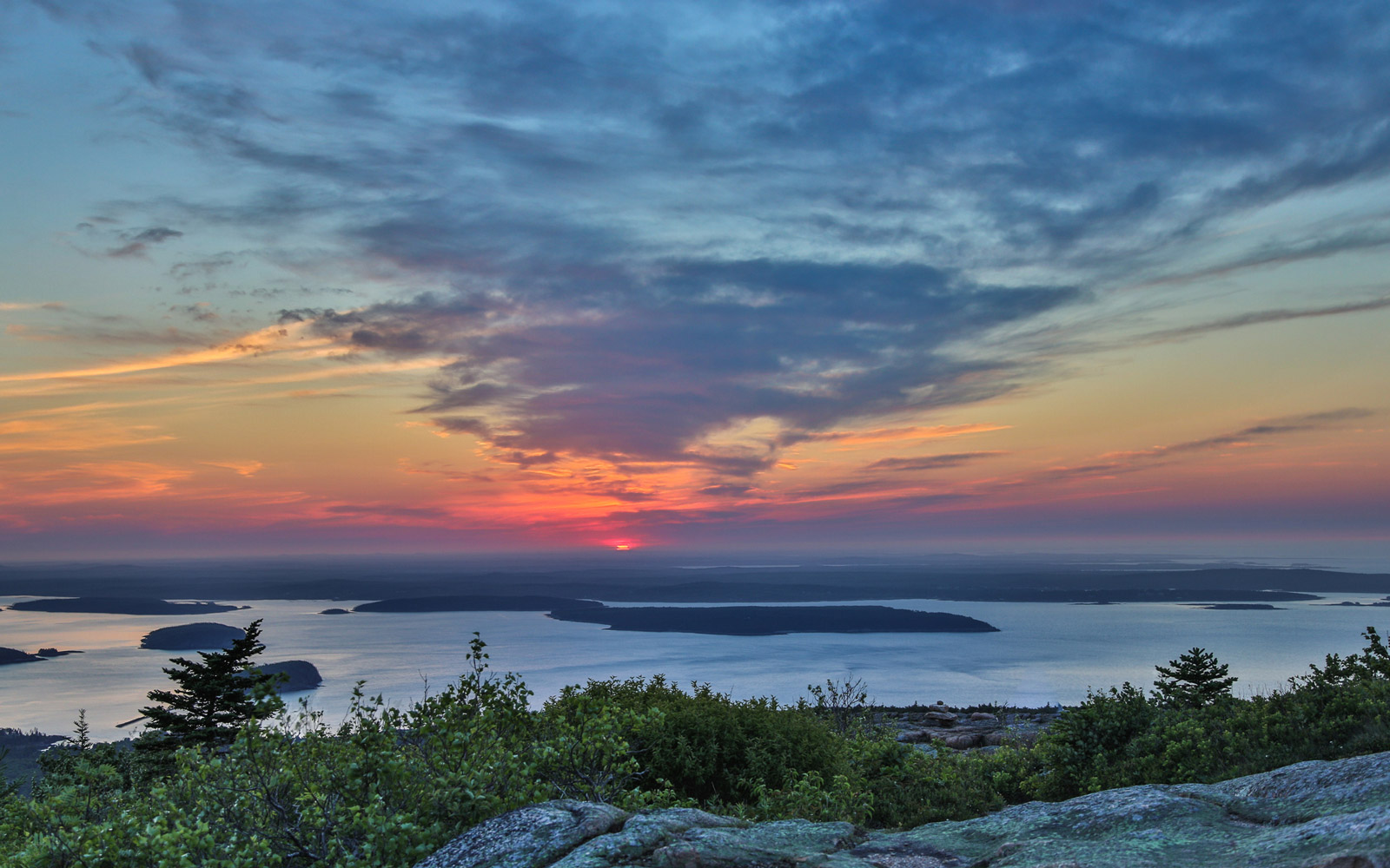 A view of the sun rise at Cadillac Mountain, Acadia National Park, Maine