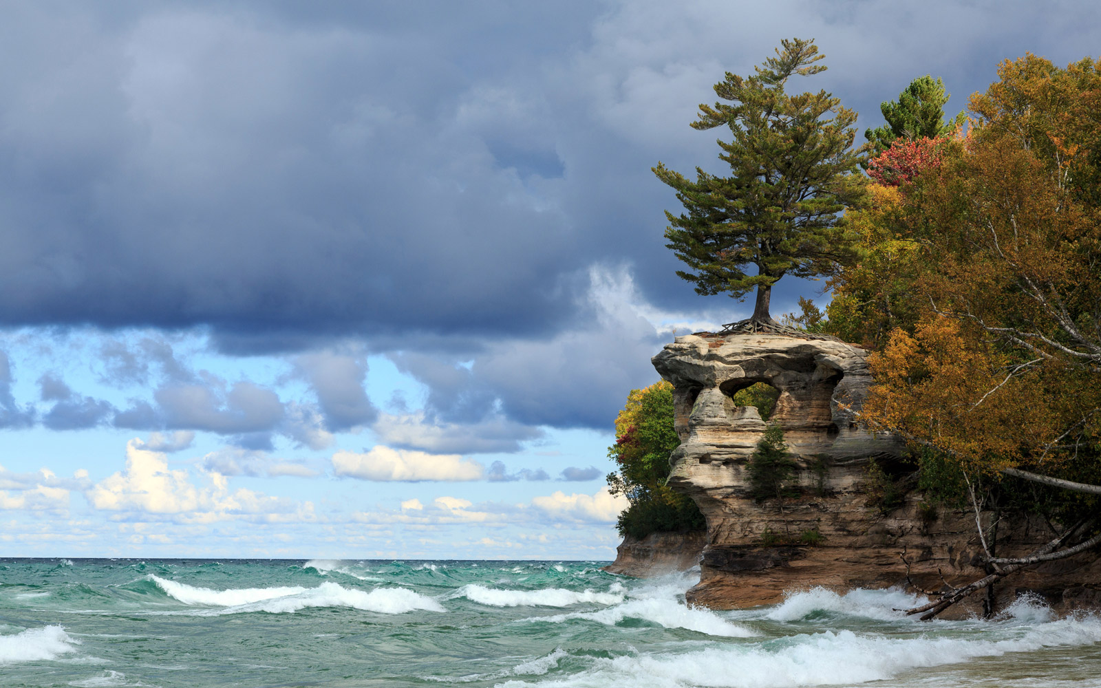 Chapel Rock is battered by crashing waves from Lake Superior at Pictured Rocks National Lakeshore in the Upper Peninsula of Michigan