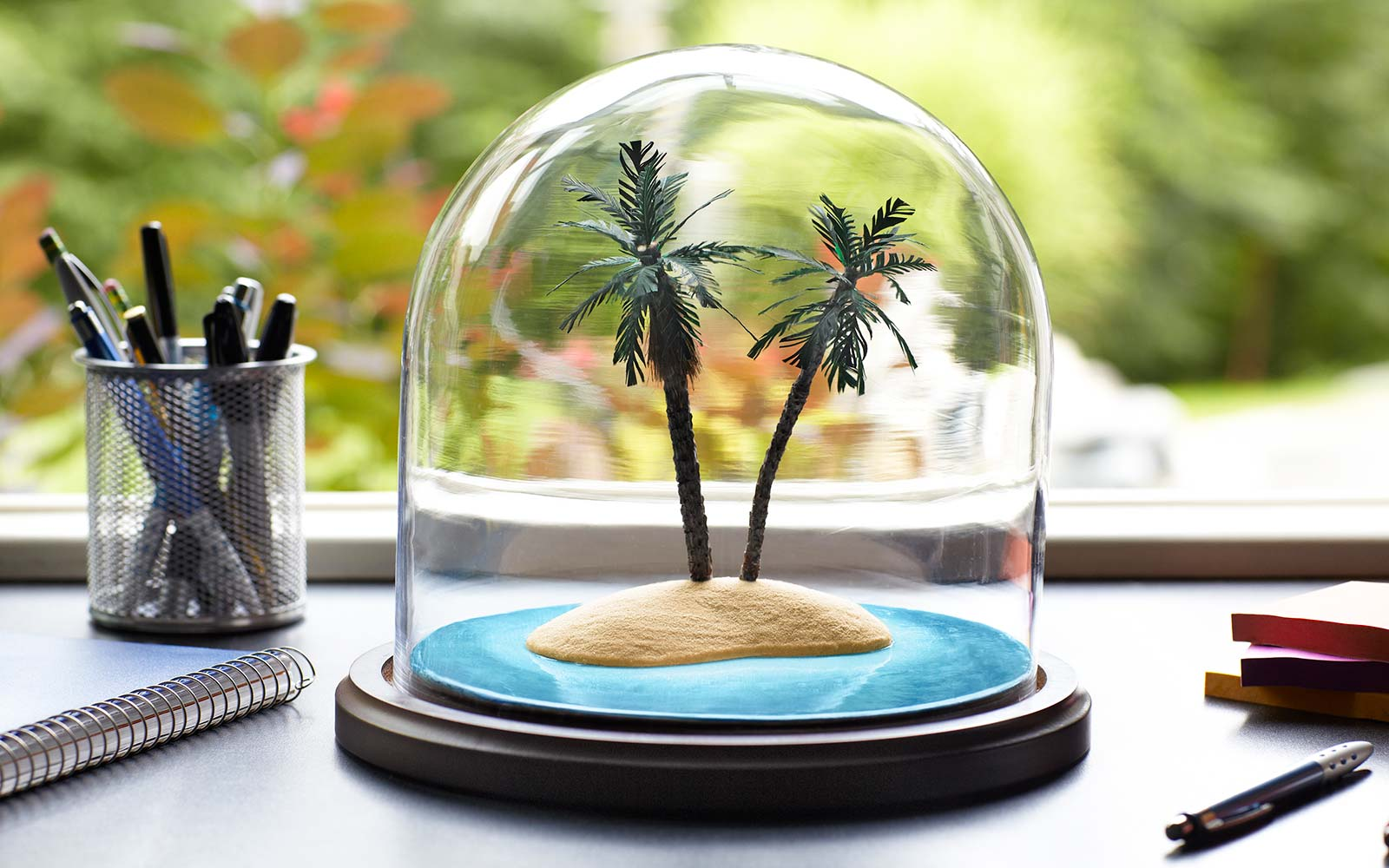 Office Desk Post Vacation Blues Depression Tropical Palm Tree decoration
