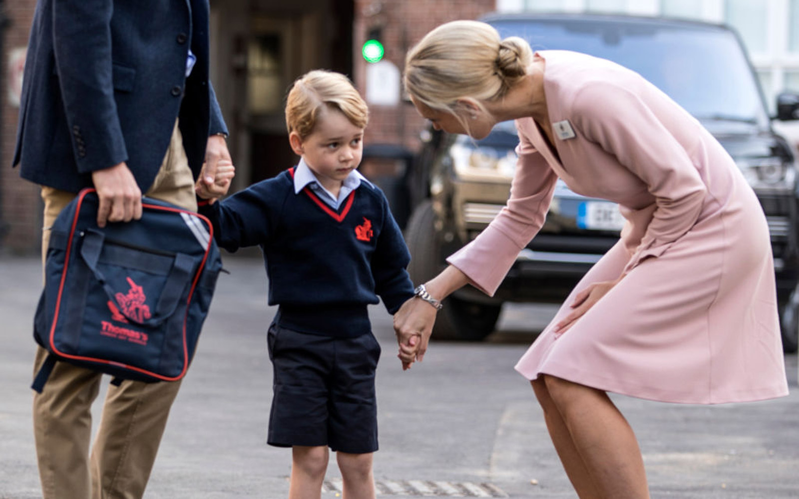 Prince George's first day of school; meeting with the Head